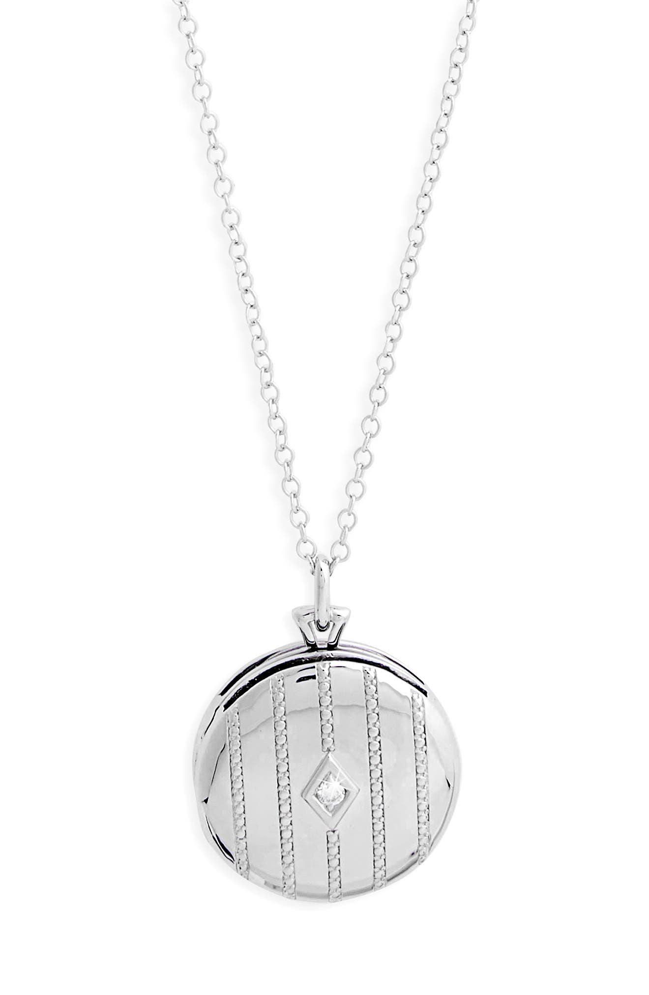 Center Diamond Locket Necklace,                             Alternate thumbnail 2, color,                             STERLING SILVER