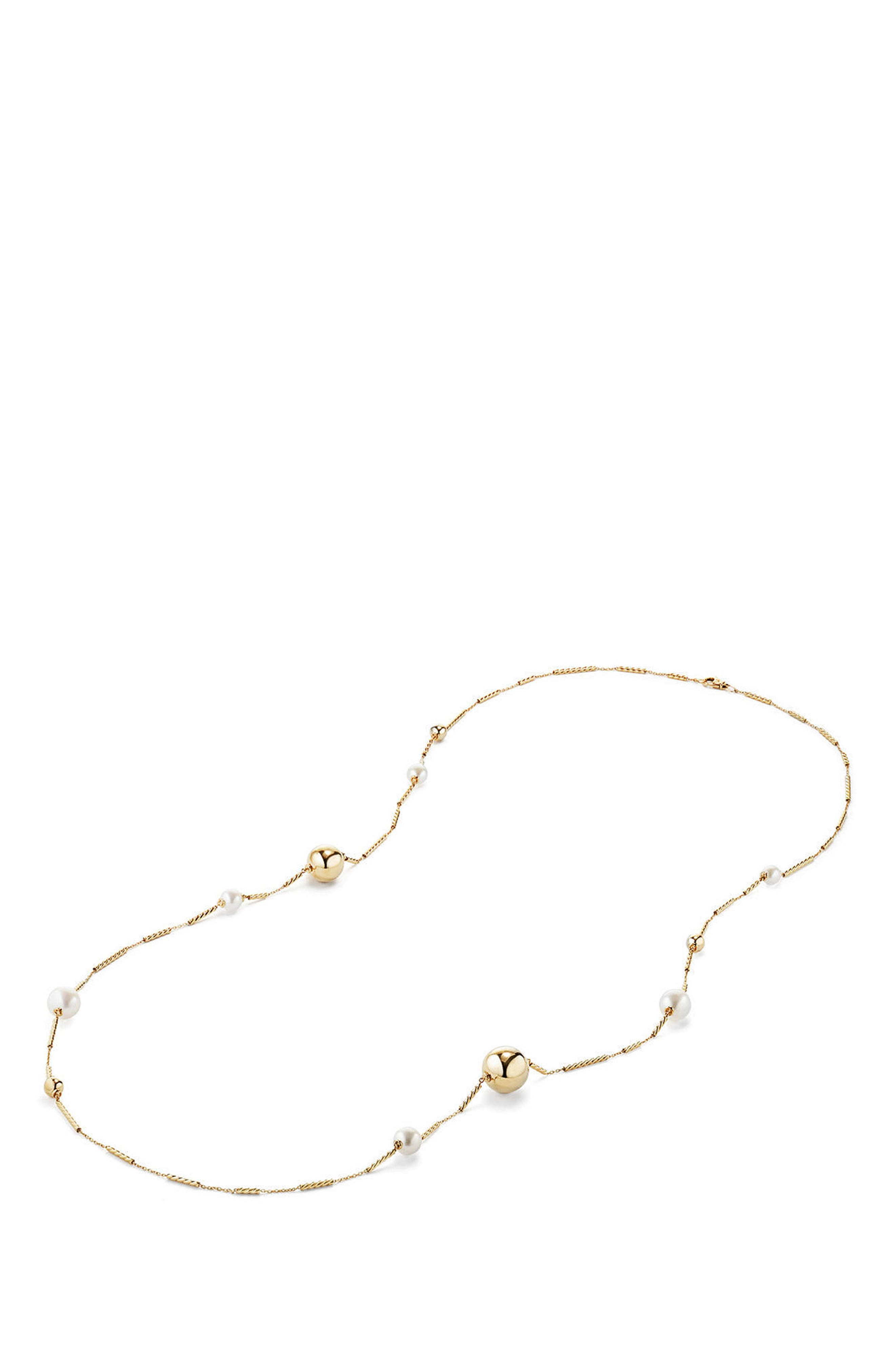 Solari Long Station Necklace with Pearls in 18K Gold,                             Alternate thumbnail 2, color,                             PEARL
