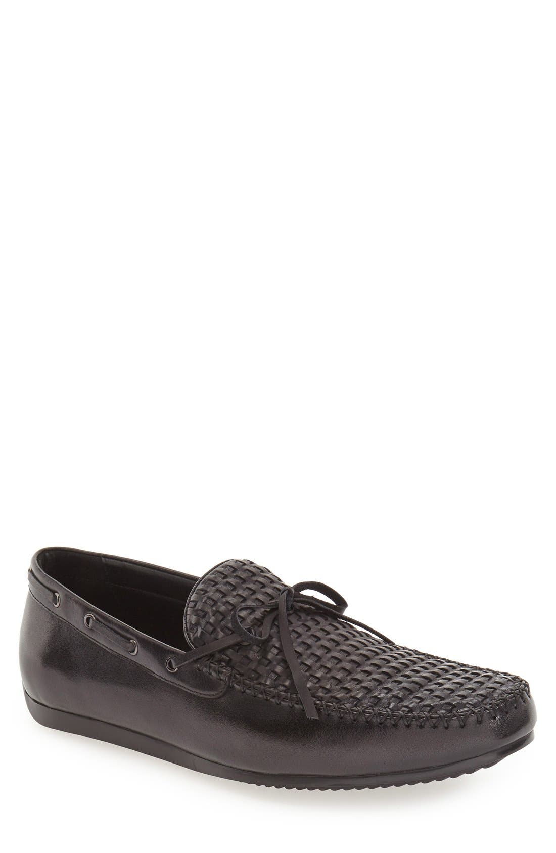 'Cezanne' Woven Tie Loafer,                             Alternate thumbnail 4, color,                             BLACK