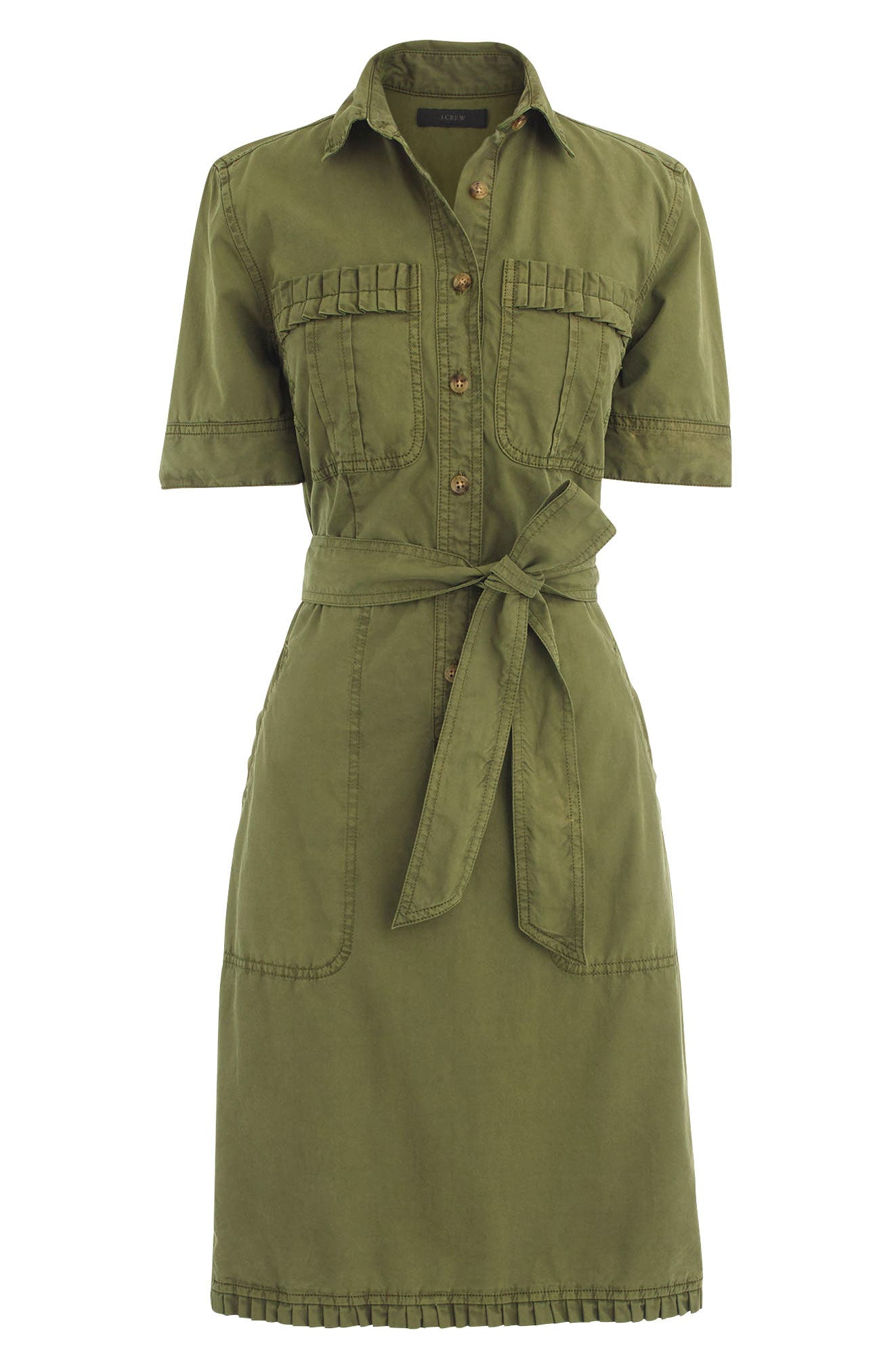 Ruffle Hem Utility Shirtdress,                             Alternate thumbnail 3, color,                             300