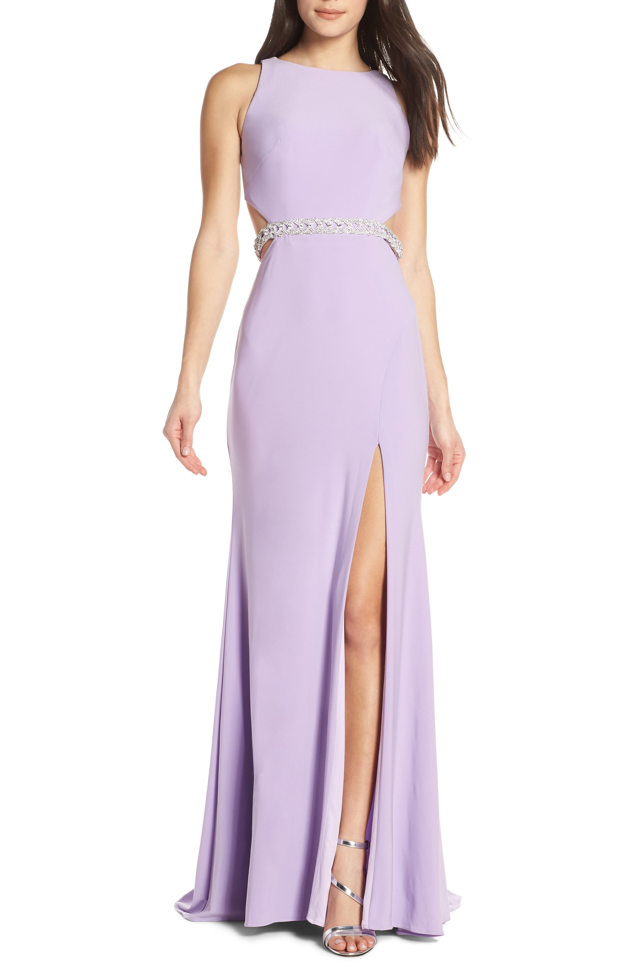 MAC Duggal Jeweled Waist Jersey Evening Dress, Purple