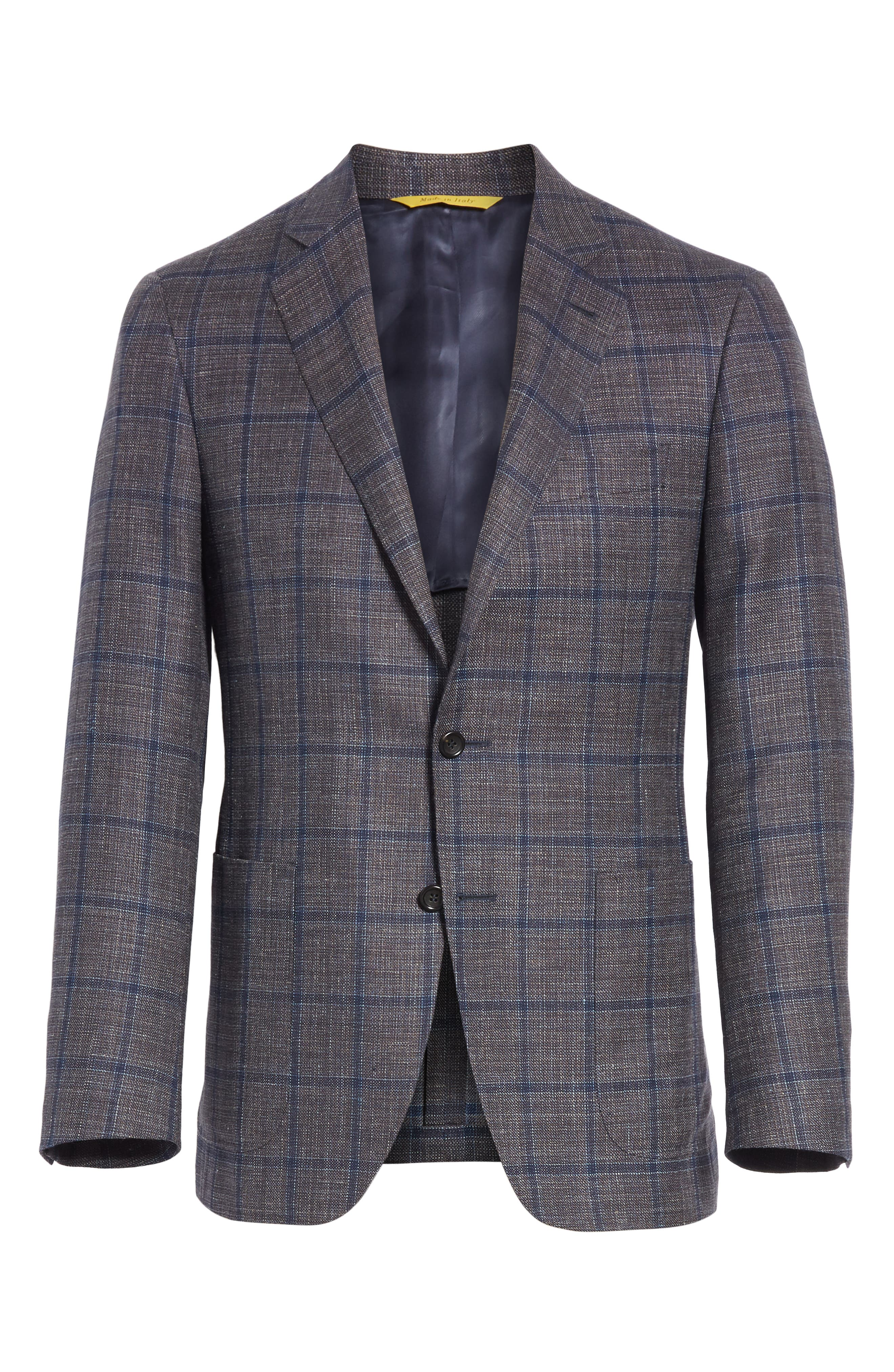 Kei Classic Fit Windowpane Wool Blend Sport Coat,                             Alternate thumbnail 5, color,                             200