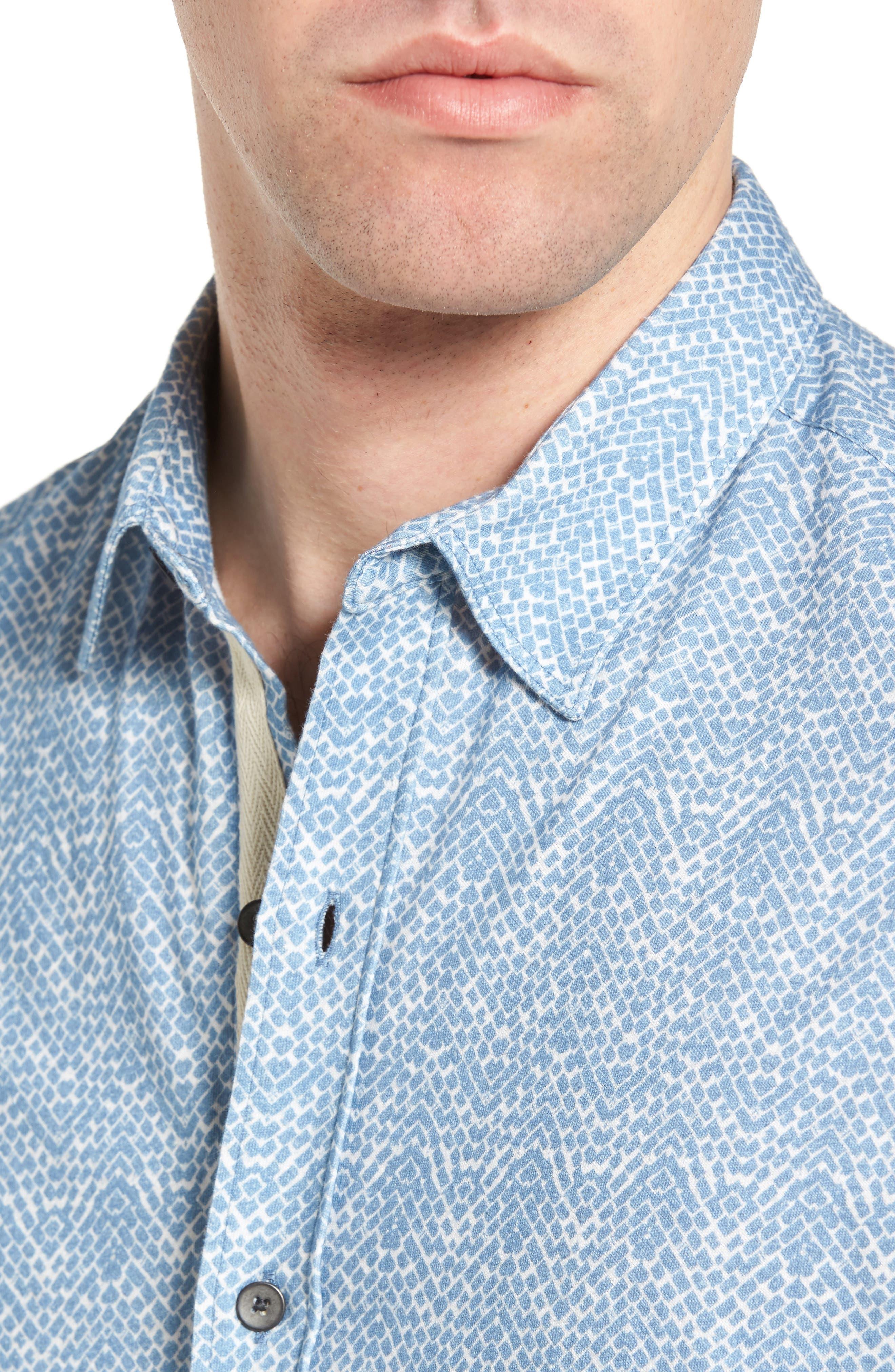Metropolitan Brick Slim Fit Linen Sport Shirt,                             Alternate thumbnail 4, color,                             450