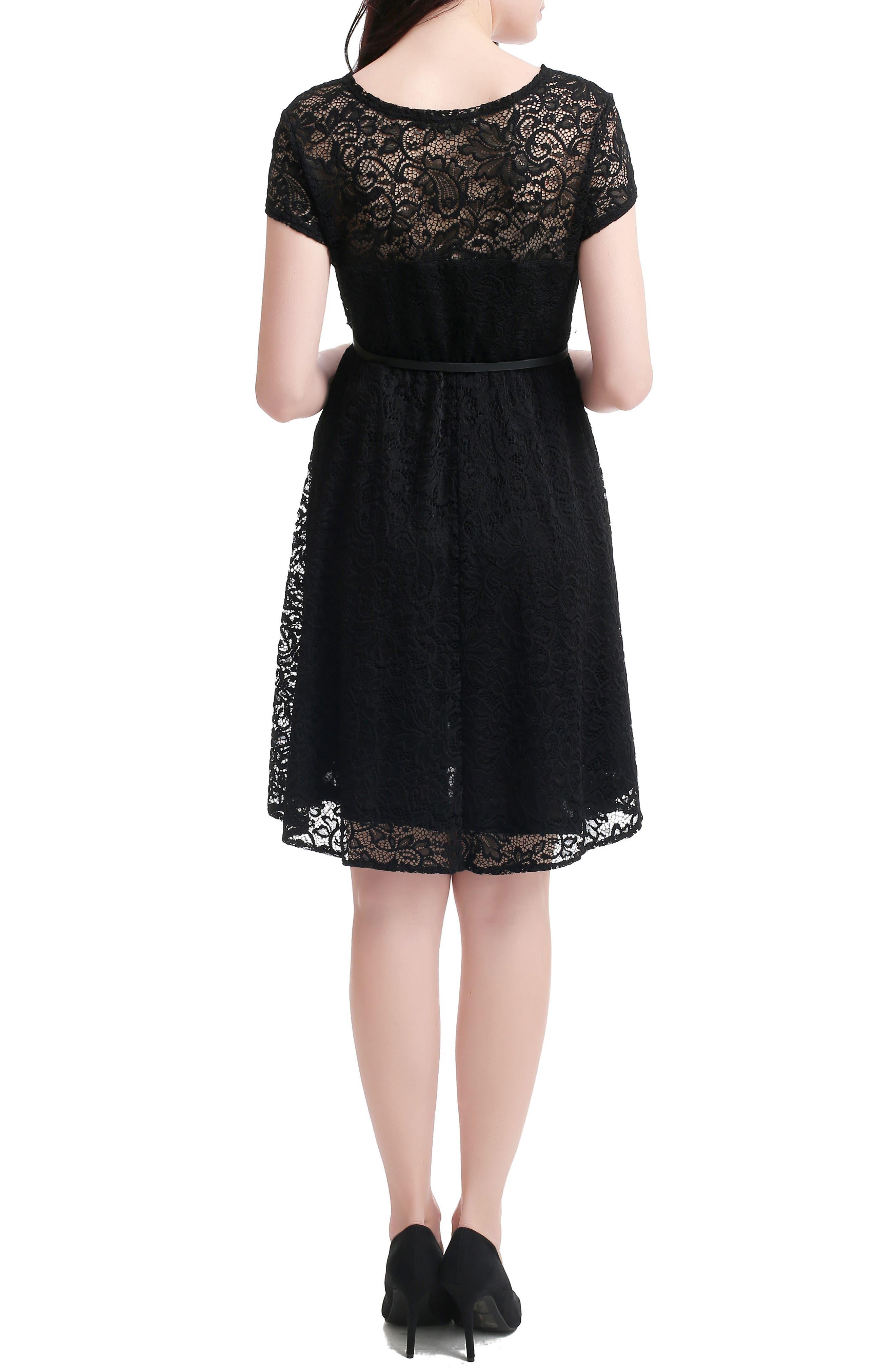 Lace Maternity Skater Dress,                         Main,                         color, BLACK