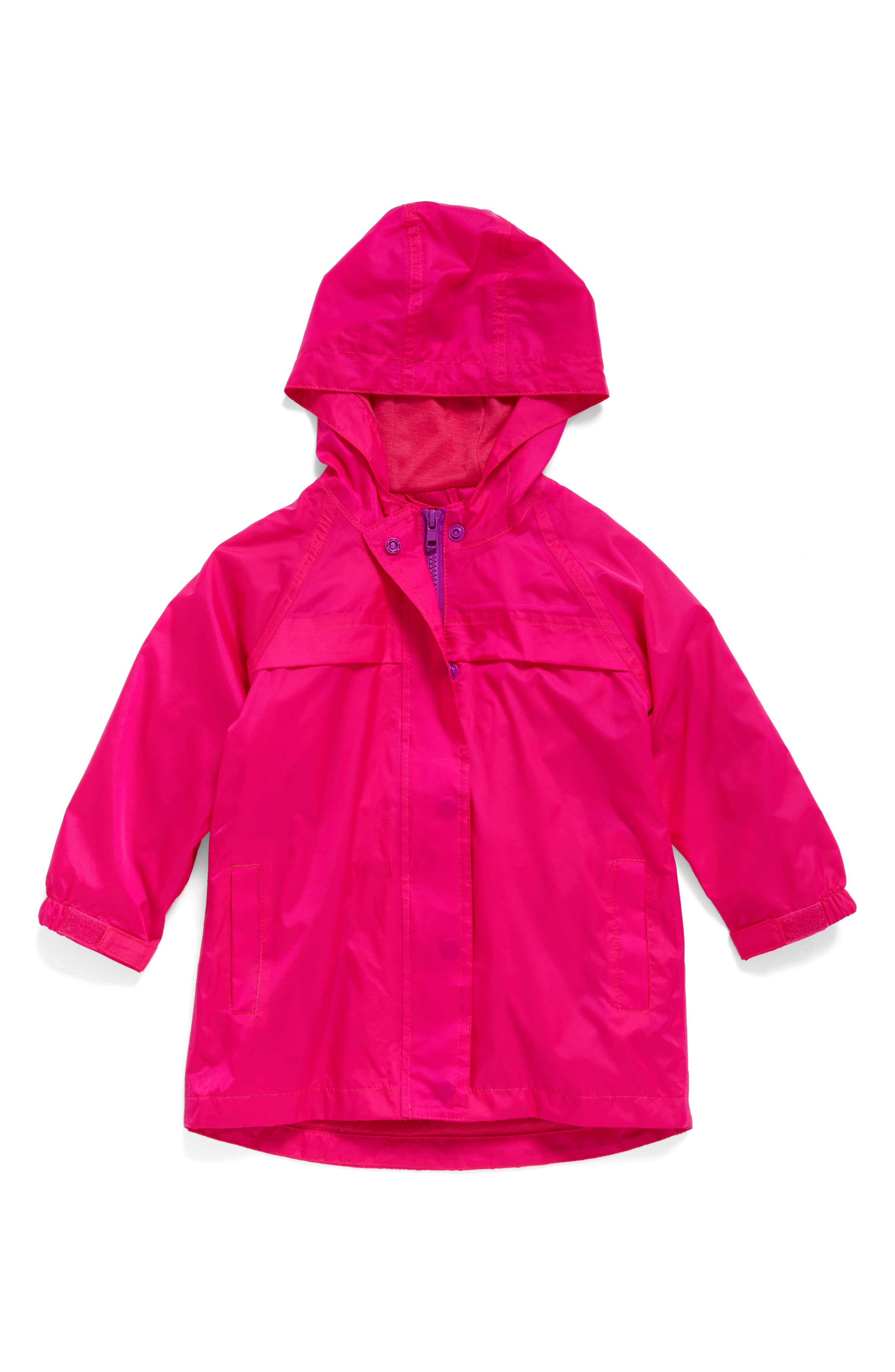 Hooded Raincoat,                         Main,                         color, PINK