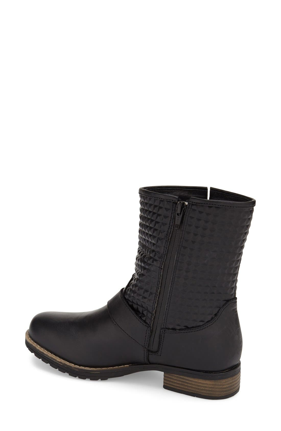 'Granada' Waterproof Pyramid Studded Boot,                             Alternate thumbnail 4, color,                             BLACK