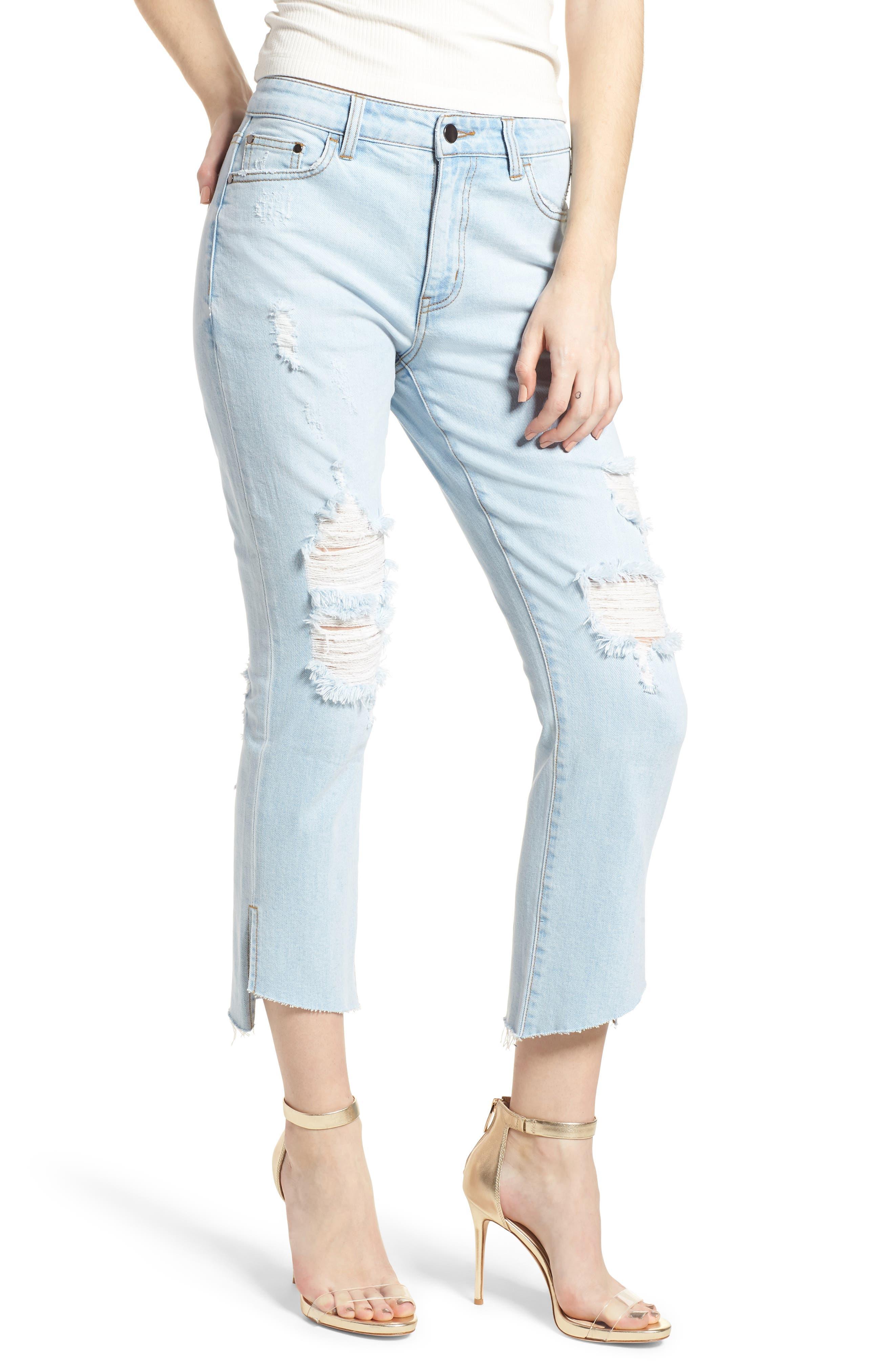 Ripped Step Hem Jeans, Main, color, 430