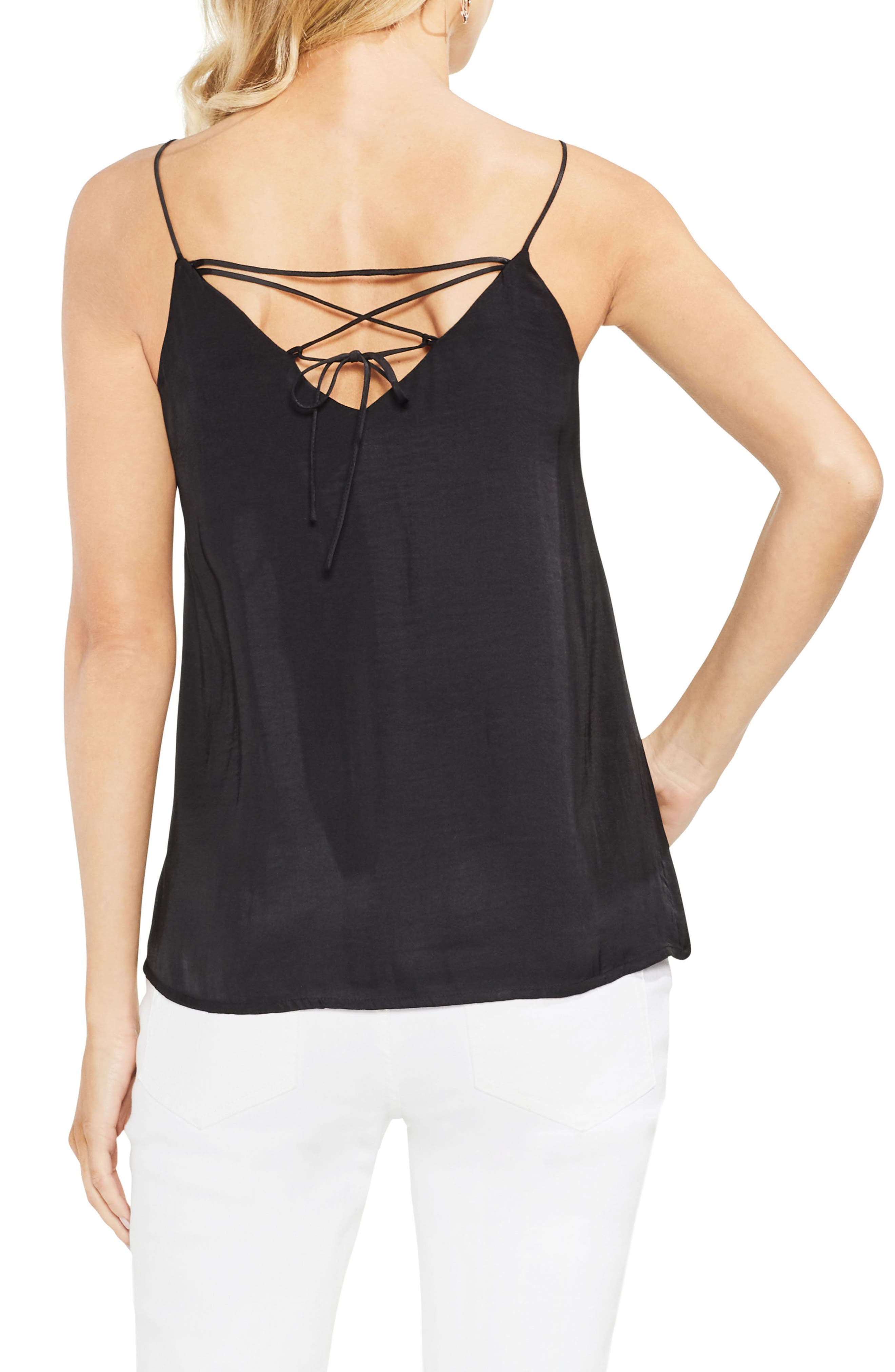 Lace-Up Back Camisole,                             Alternate thumbnail 2, color,                             001