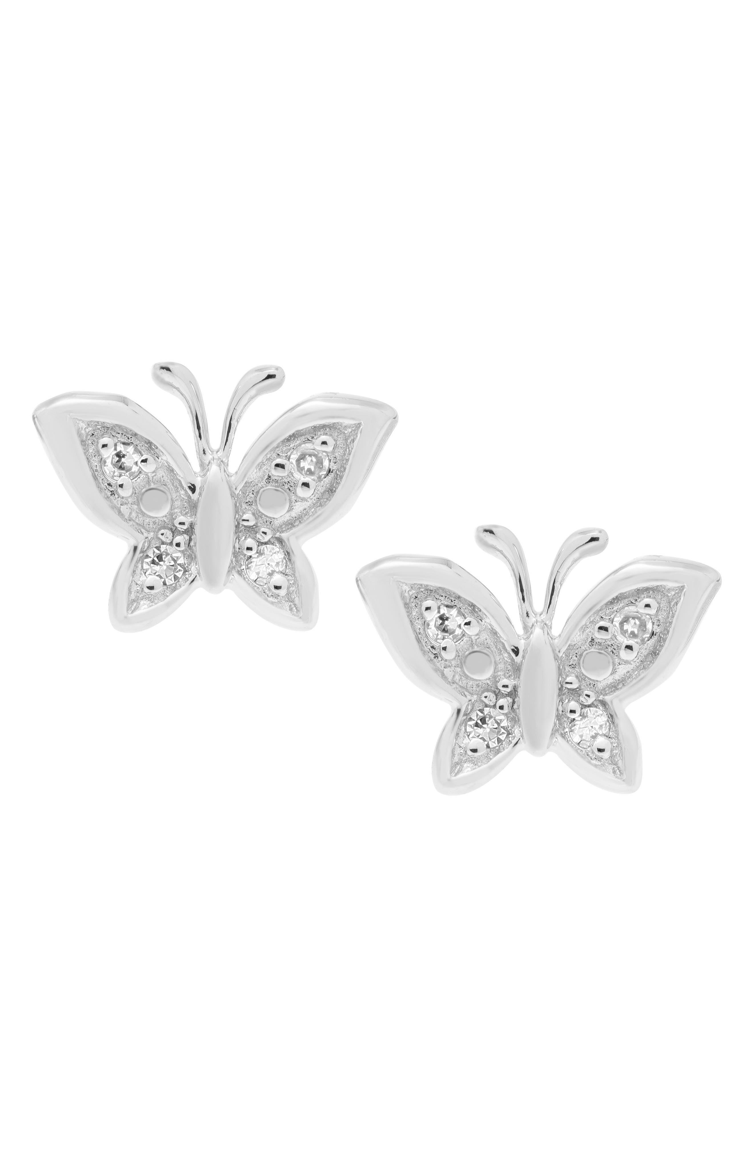 Sterling Silver & Diamond Butterfly Stud Earrings,                             Alternate thumbnail 2, color,                             SILVER