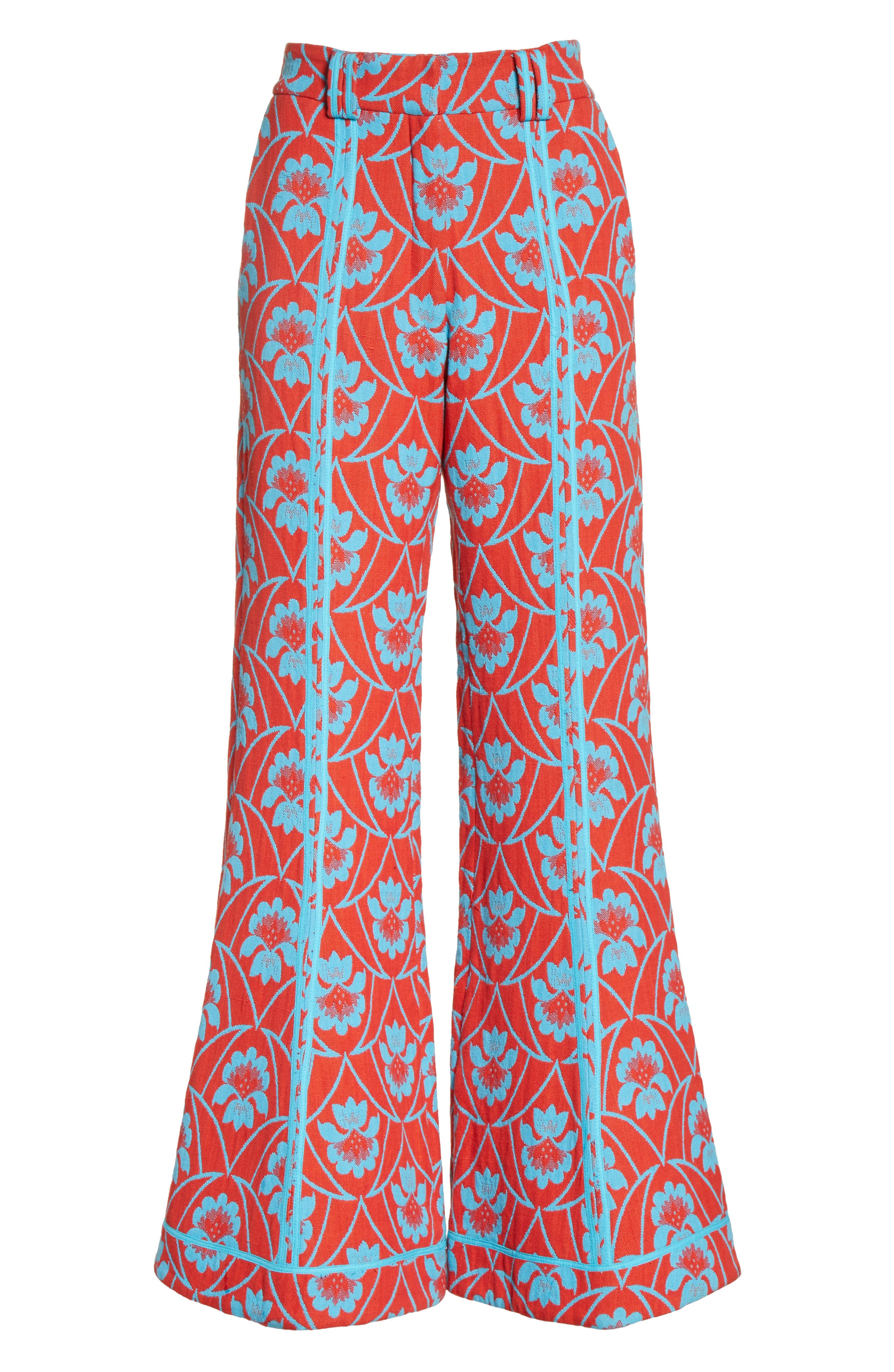 Floral Flare Trousers,                             Alternate thumbnail 6, color,