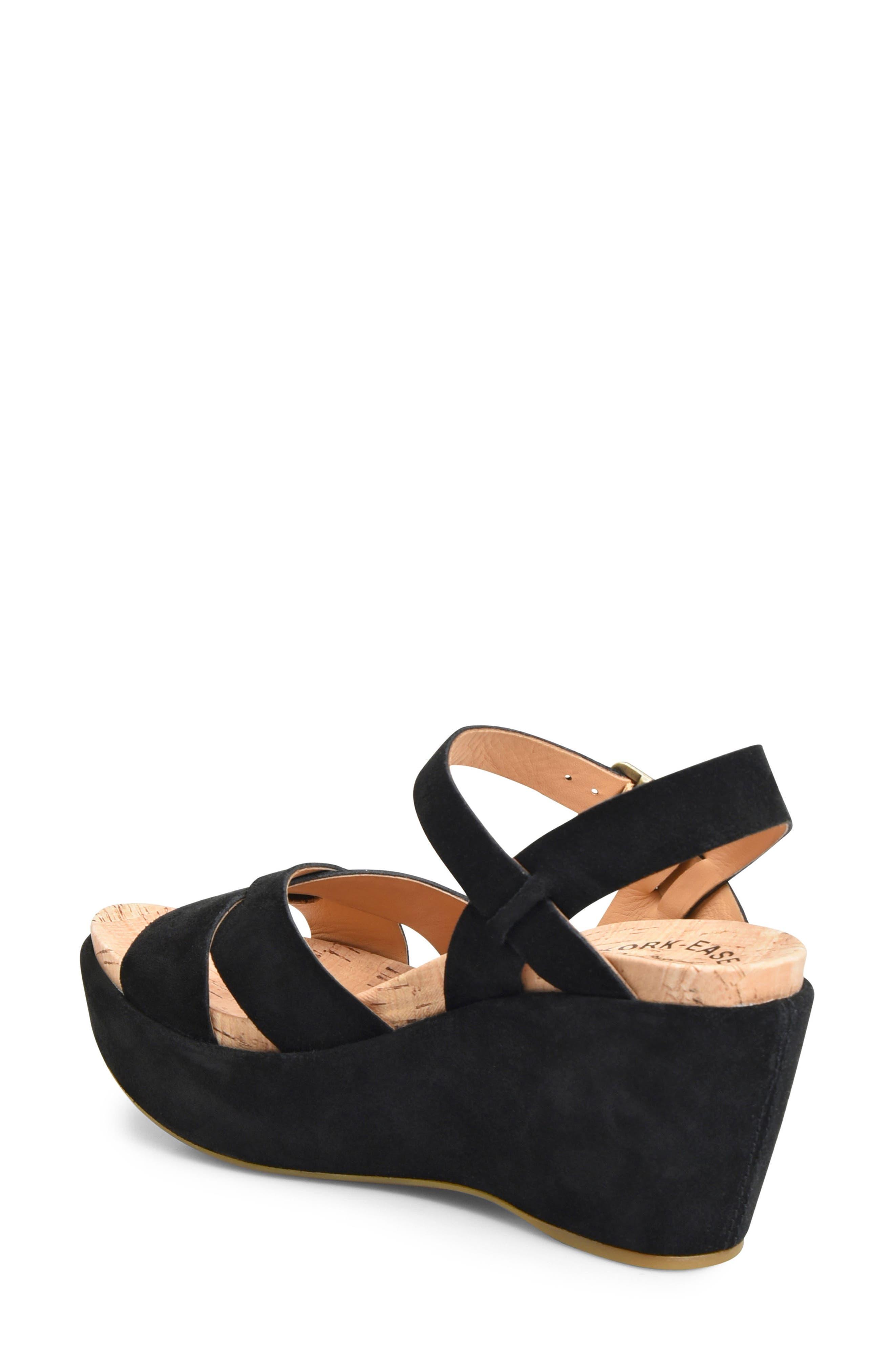 'Ava 2.0' Platform Wedge Sandal,                             Alternate thumbnail 2, color,                             BLACK SUEDE 2