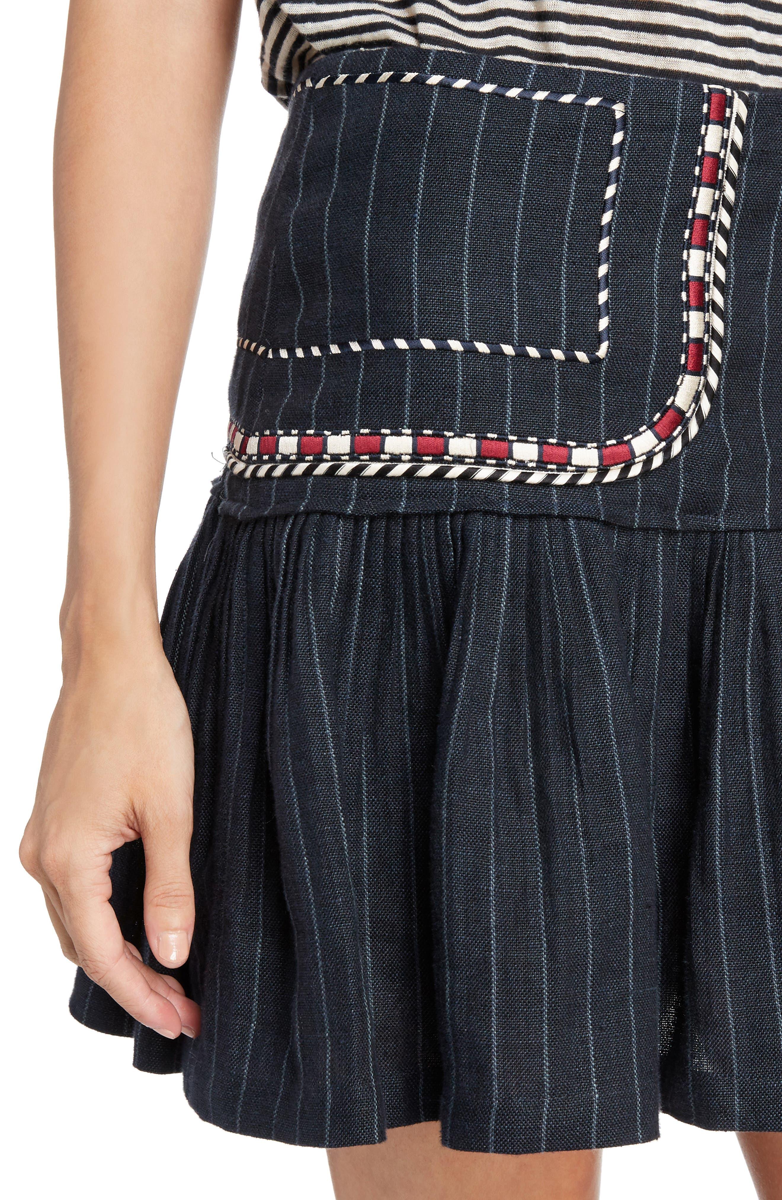 Isabel Marant Étoile Jessie Embroidered Linen Skirt,                             Alternate thumbnail 4, color,                             001