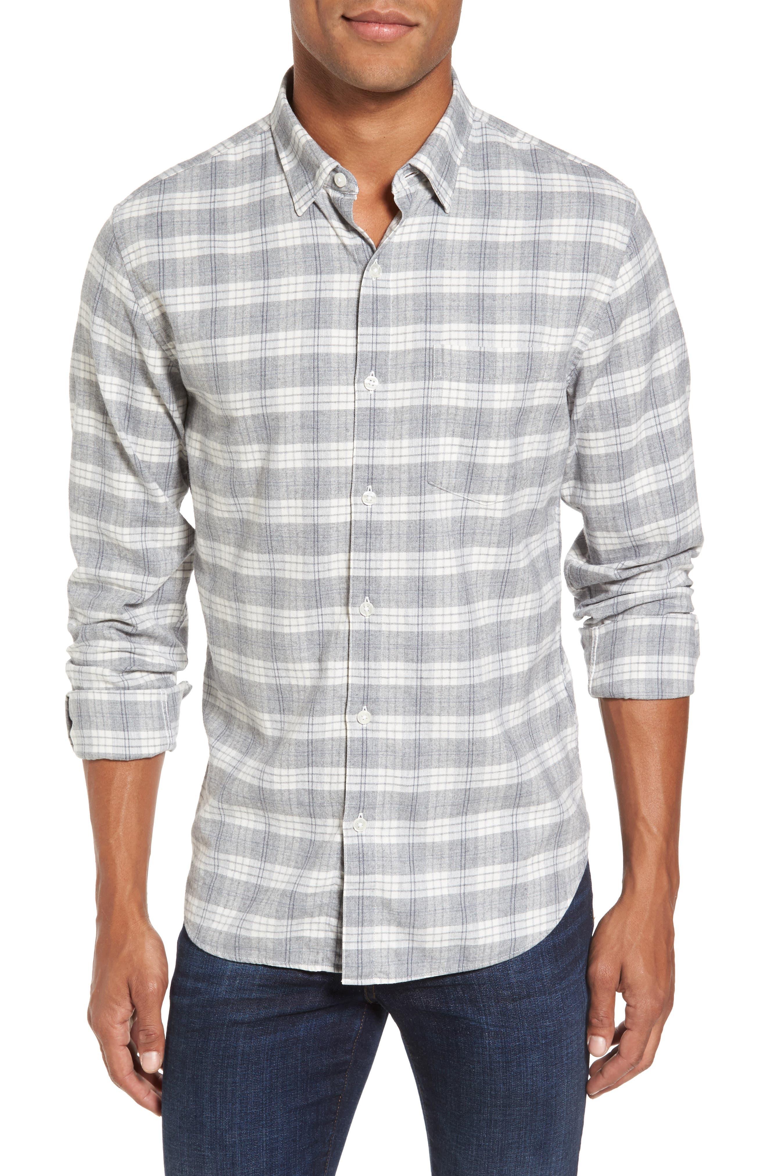 Slim Fit Plaid Twill Sport Shirt,                         Main,                         color, 020