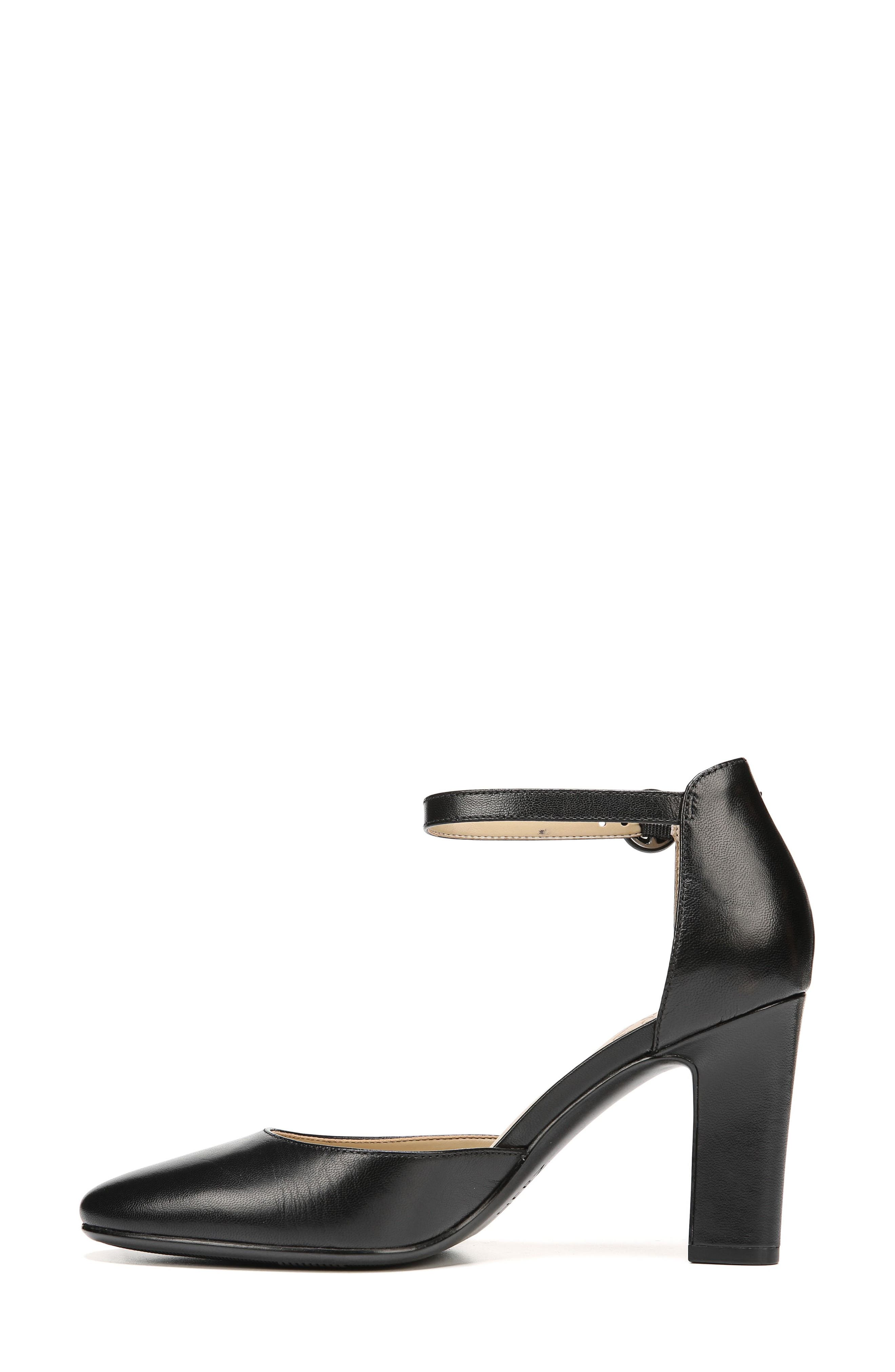 Gianna Ankle Strap Pump,                             Alternate thumbnail 3, color,                             BLACK LEATHER