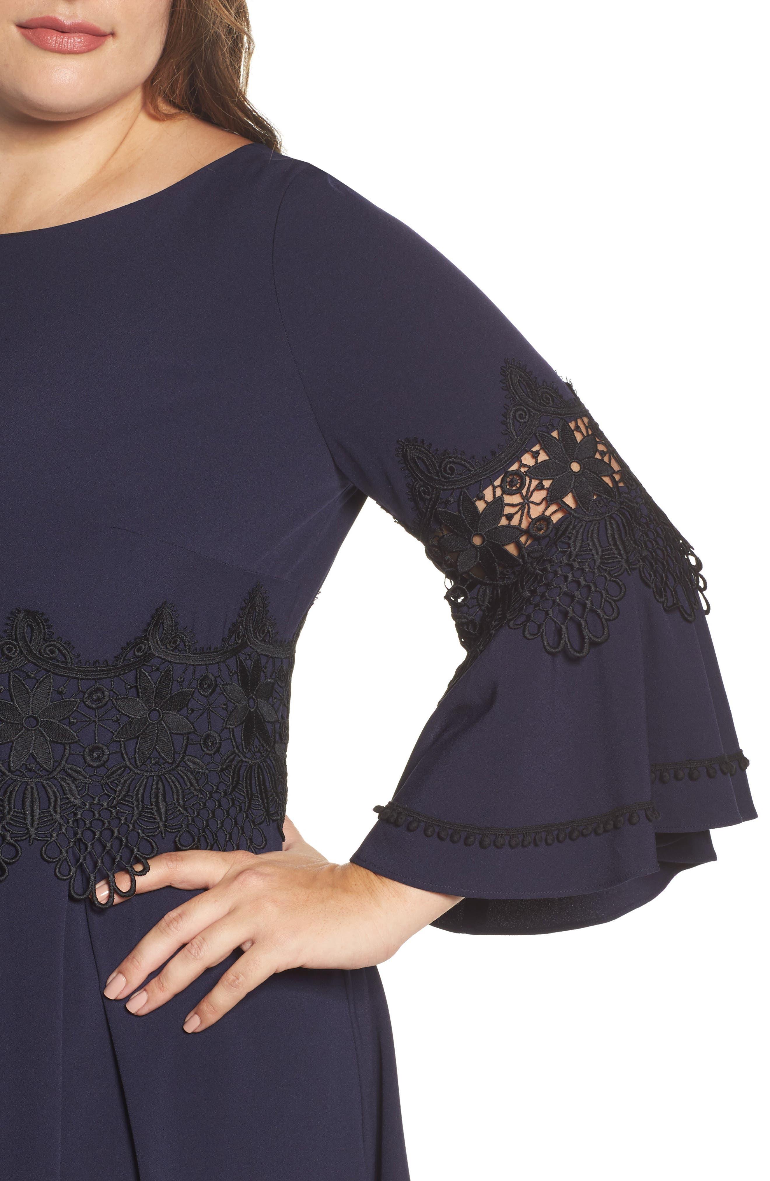 Lace Appliqué A-Line Dress,                             Alternate thumbnail 4, color,                             488
