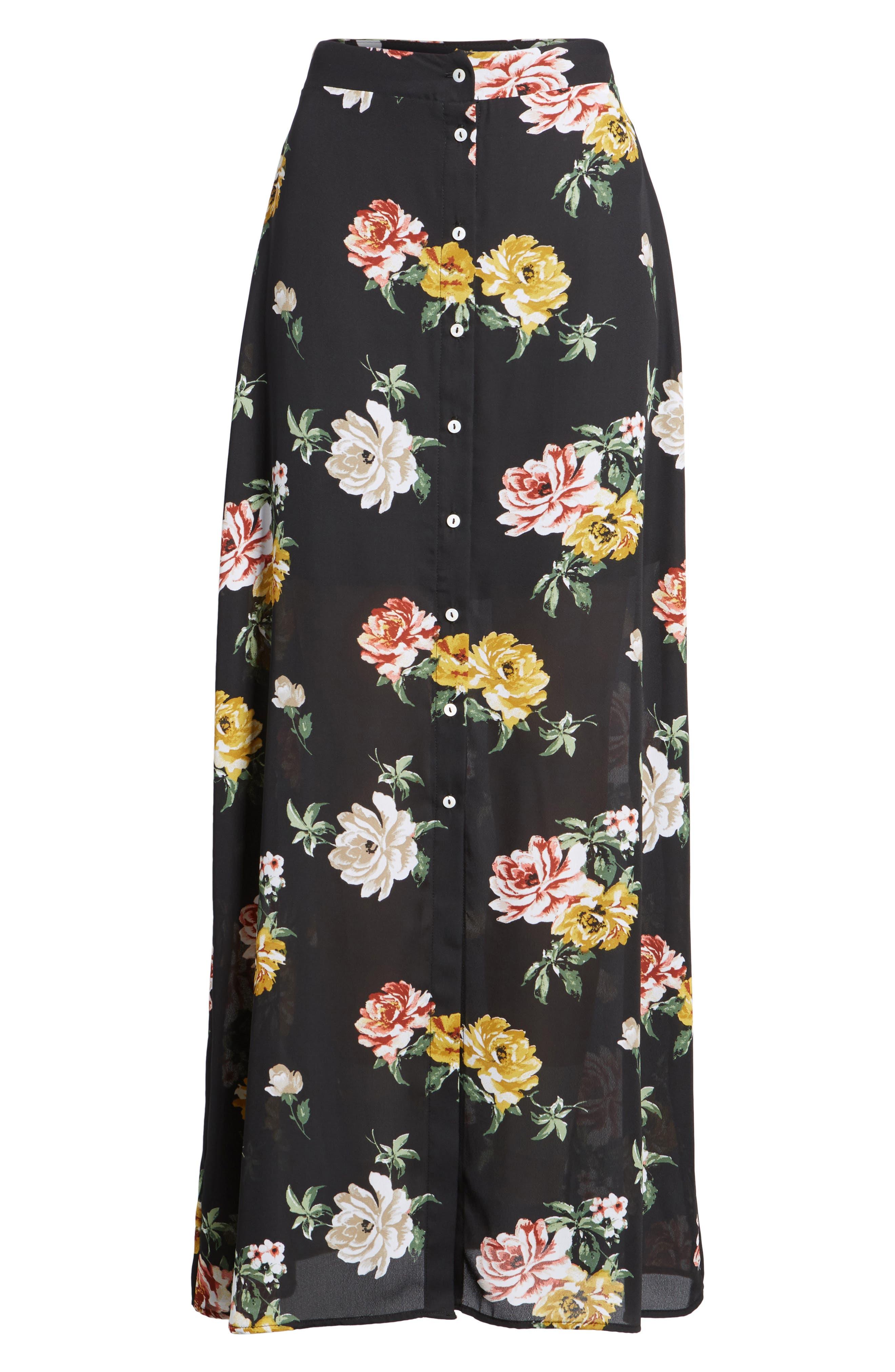 Floral Print Maxi Skirt,                             Alternate thumbnail 6, color,                             001