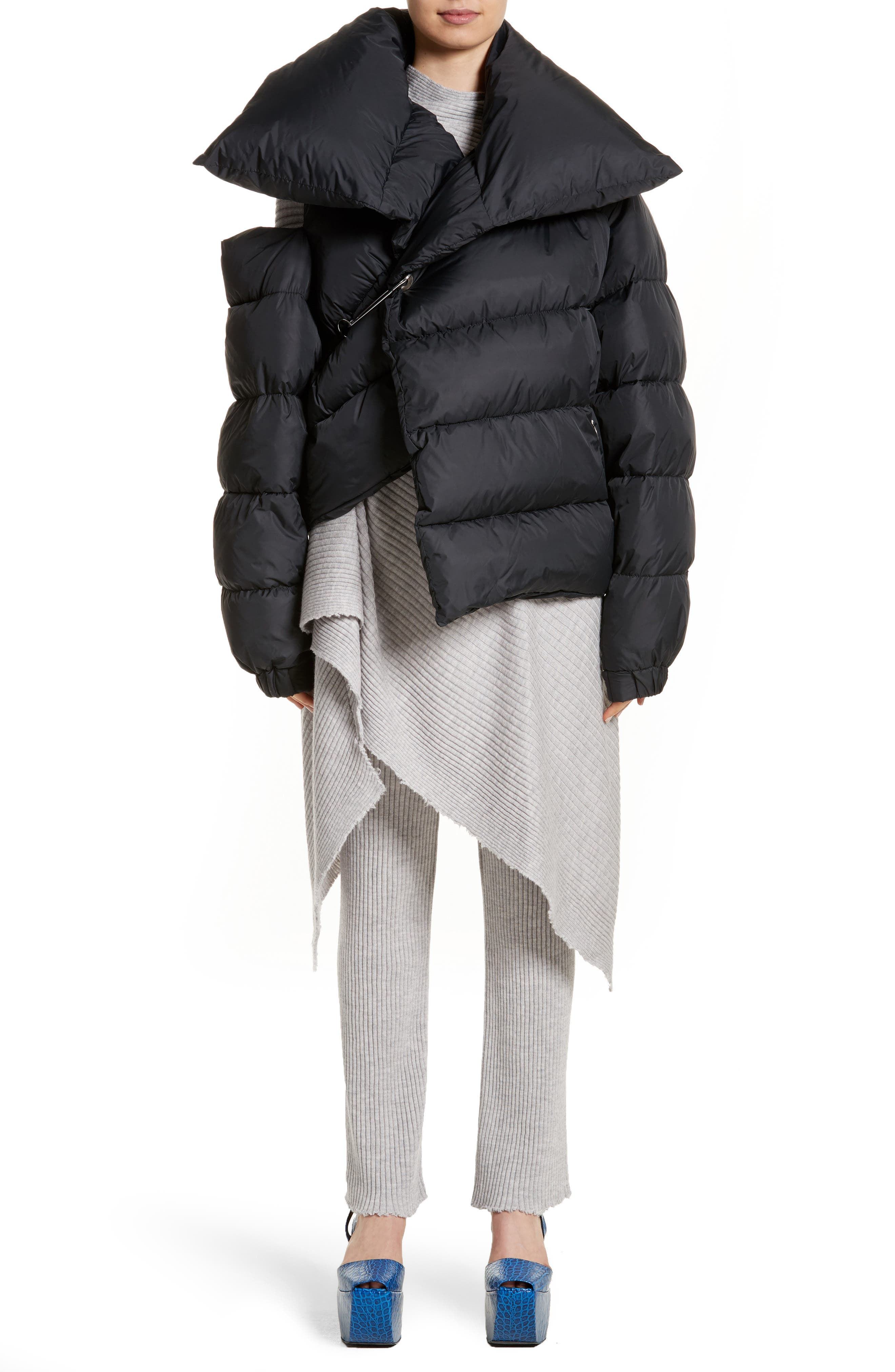 Marques'Almeida Asymmetrical Down Puffer Coat with Safety Pin Closure,                             Main thumbnail 1, color,                             001