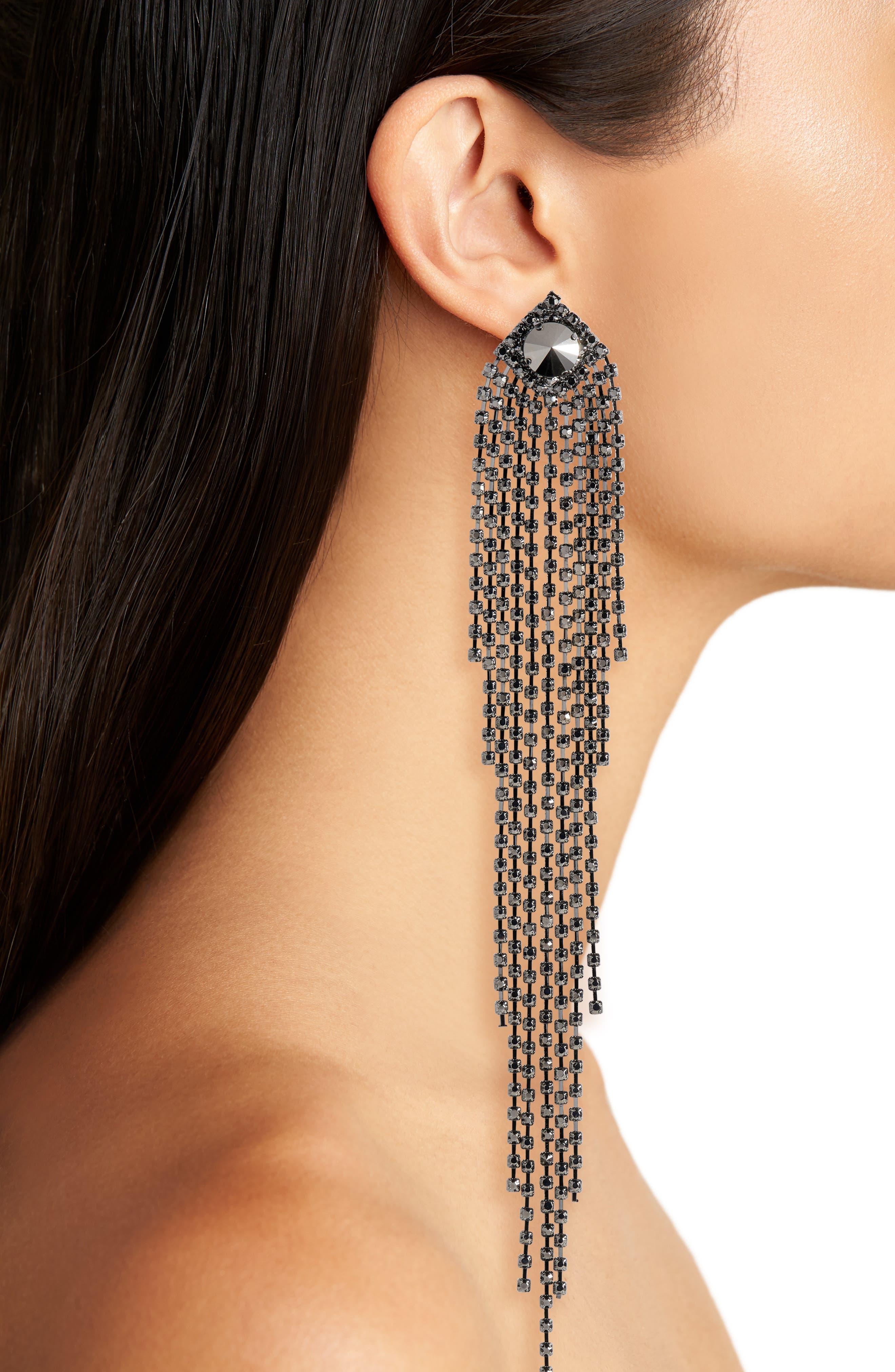 Drama Crystal Shoulder Duster Earrings,                             Alternate thumbnail 2, color,                             040