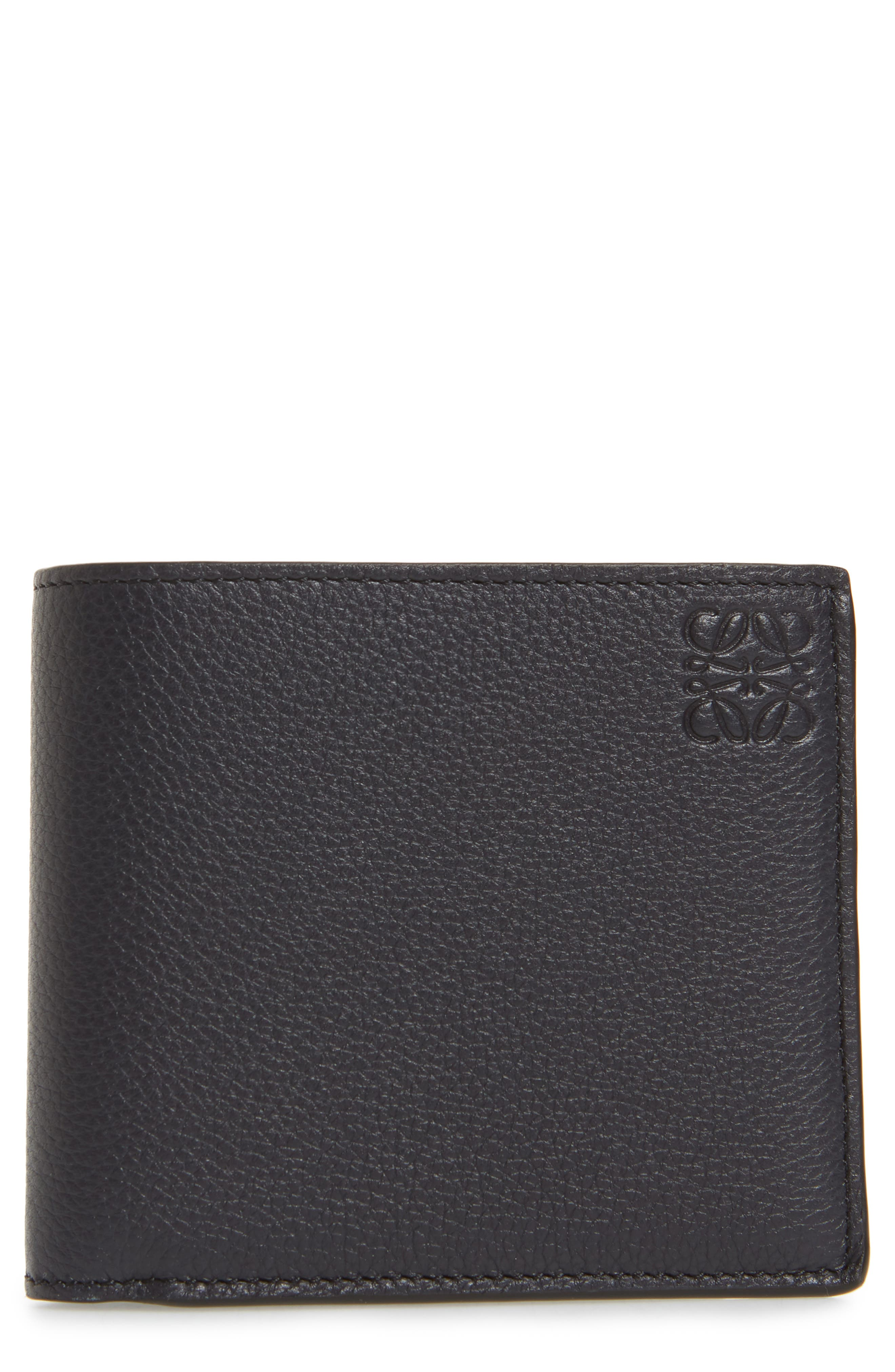 LOEWE,                             Calfskin Leather Bifold Wallet,                             Main thumbnail 1, color,                             MIDNIGHT