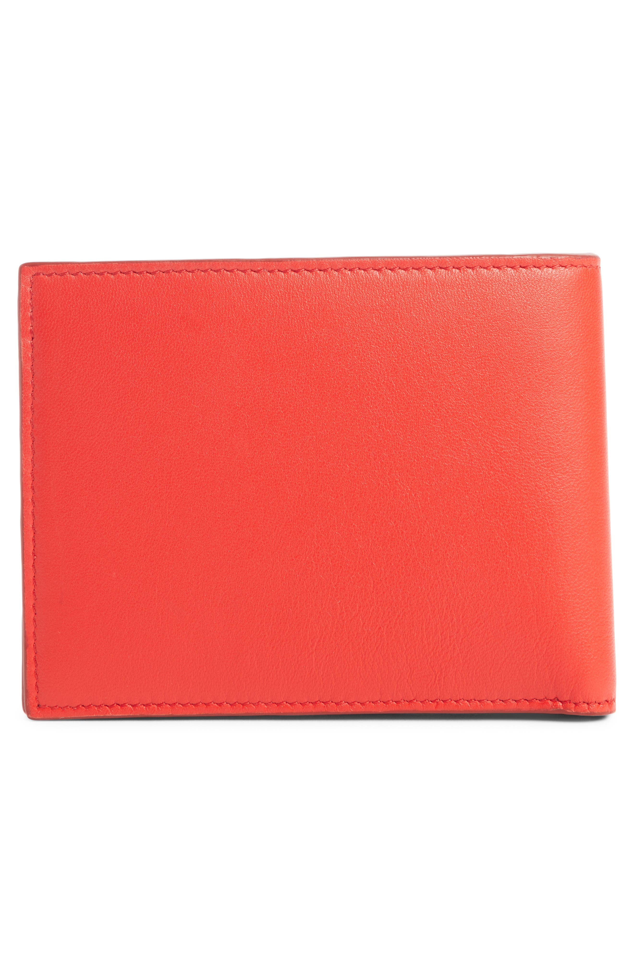 Embossed 4G Leather Bifold Wallet,                             Alternate thumbnail 3, color,                             RED