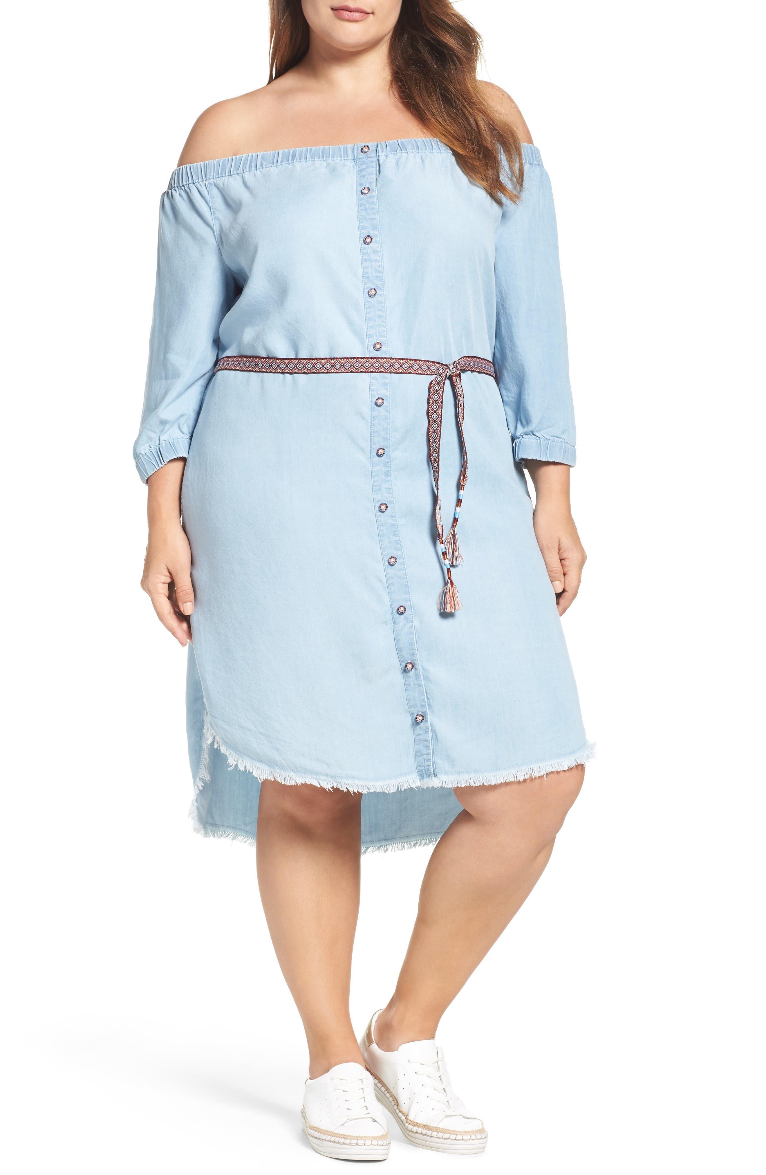 Chambray Off the Shoulder Shirtdress,                         Main,                         color, 458