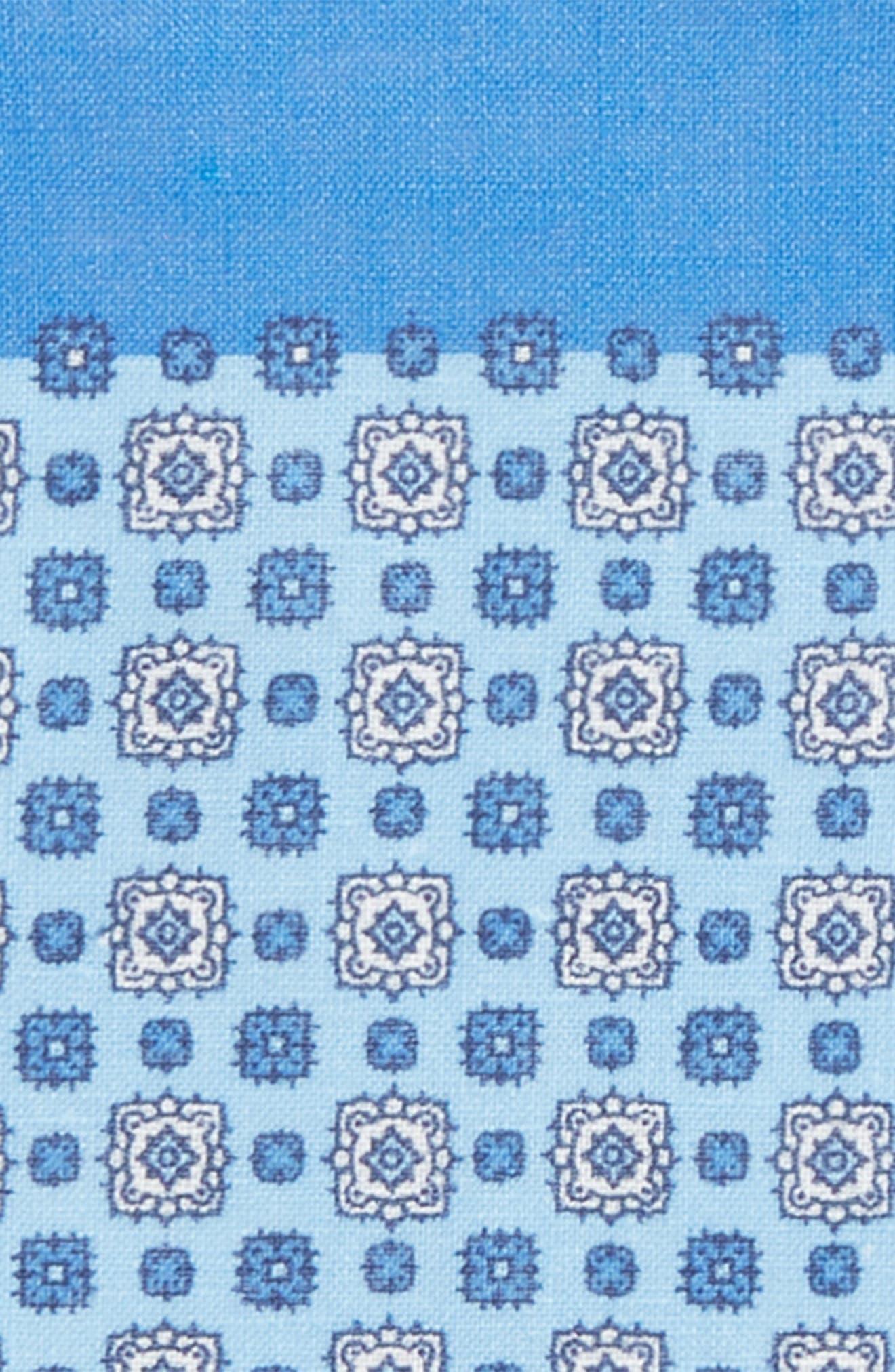 Medallion Linen Pocket Square,                             Alternate thumbnail 5, color,