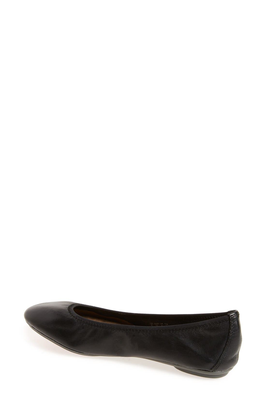 HUSH PUPPIES<SUP>®</SUP>,                             'Chaste' Ballet Flat,                             Alternate thumbnail 2, color,                             BLACK LEATHER