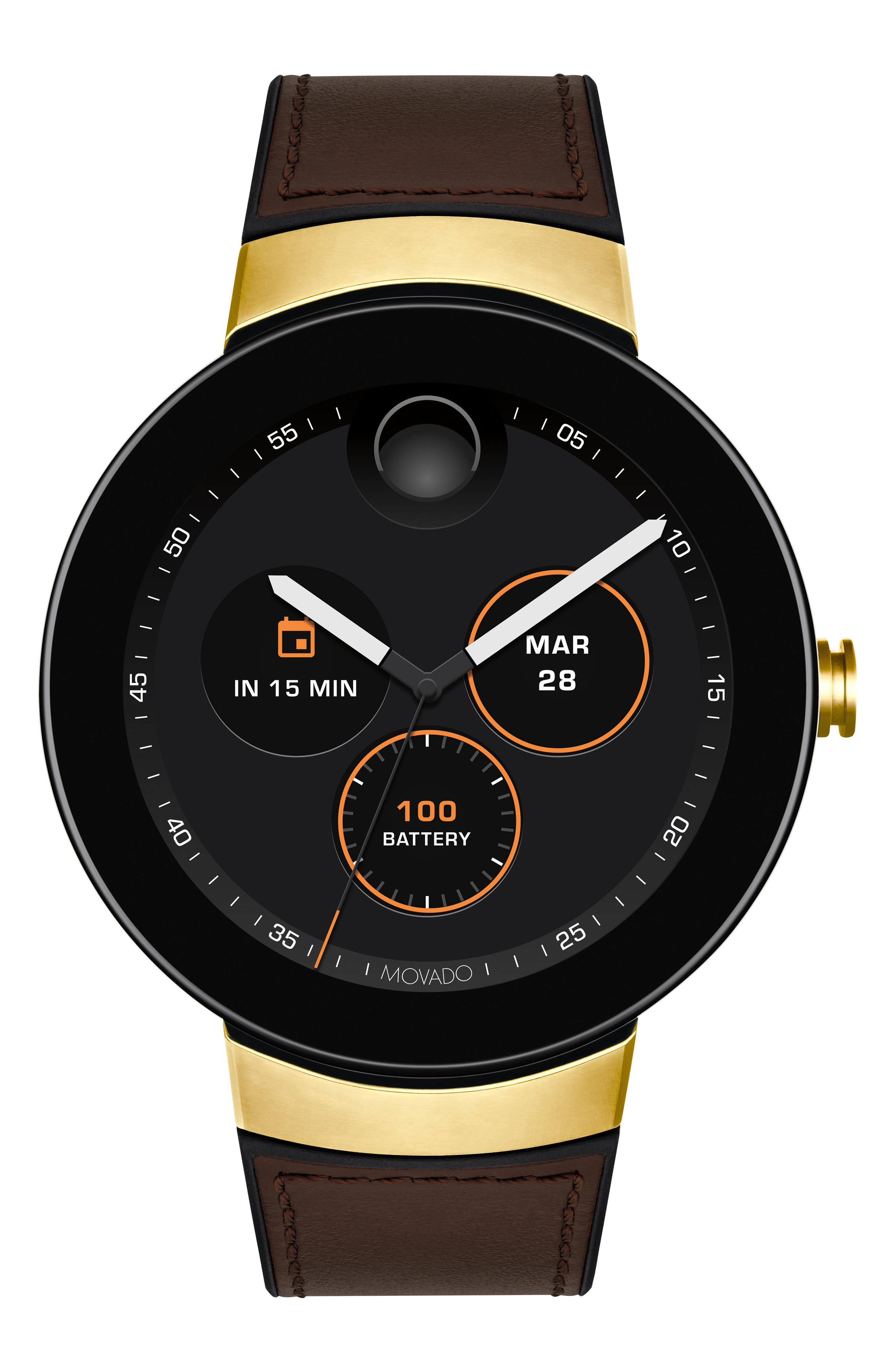 Men'S Bold Connect Smartwatch With Brown Leather Strap in Chocolate/ Black/ Gold
