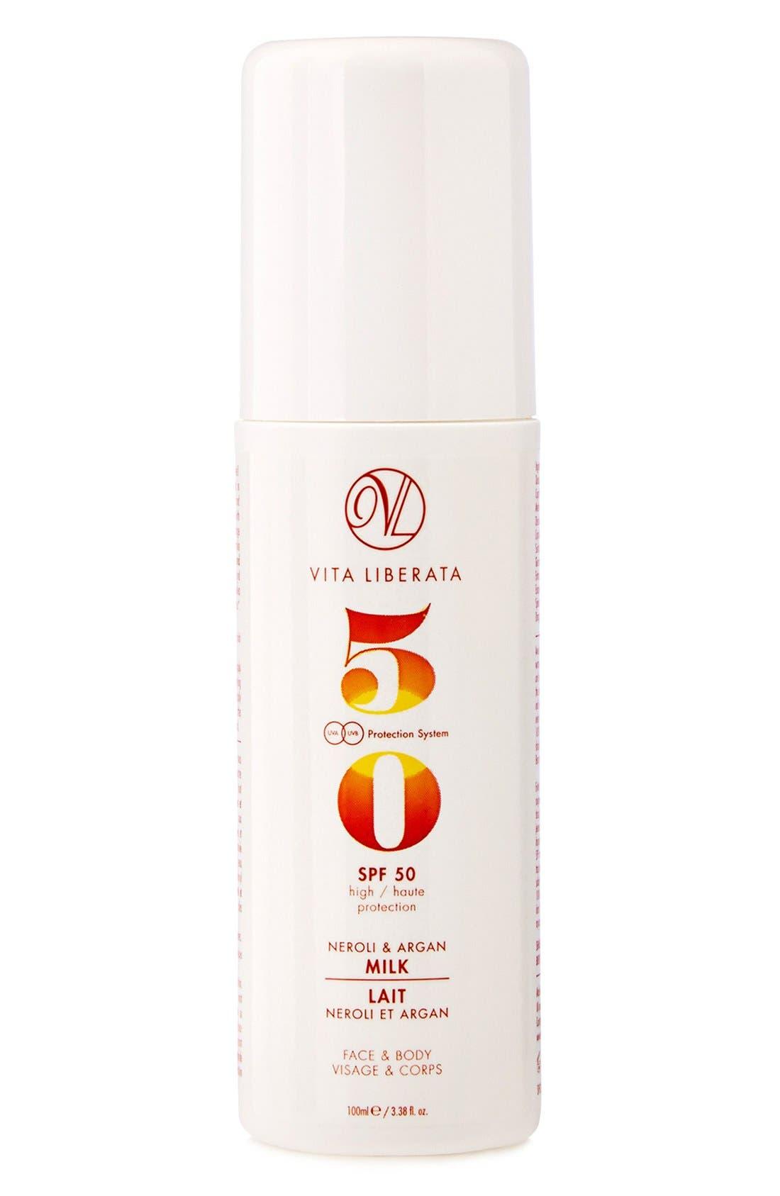 Neroli & Argan Milk for Face & Body SPF 50,                             Main thumbnail 1, color,