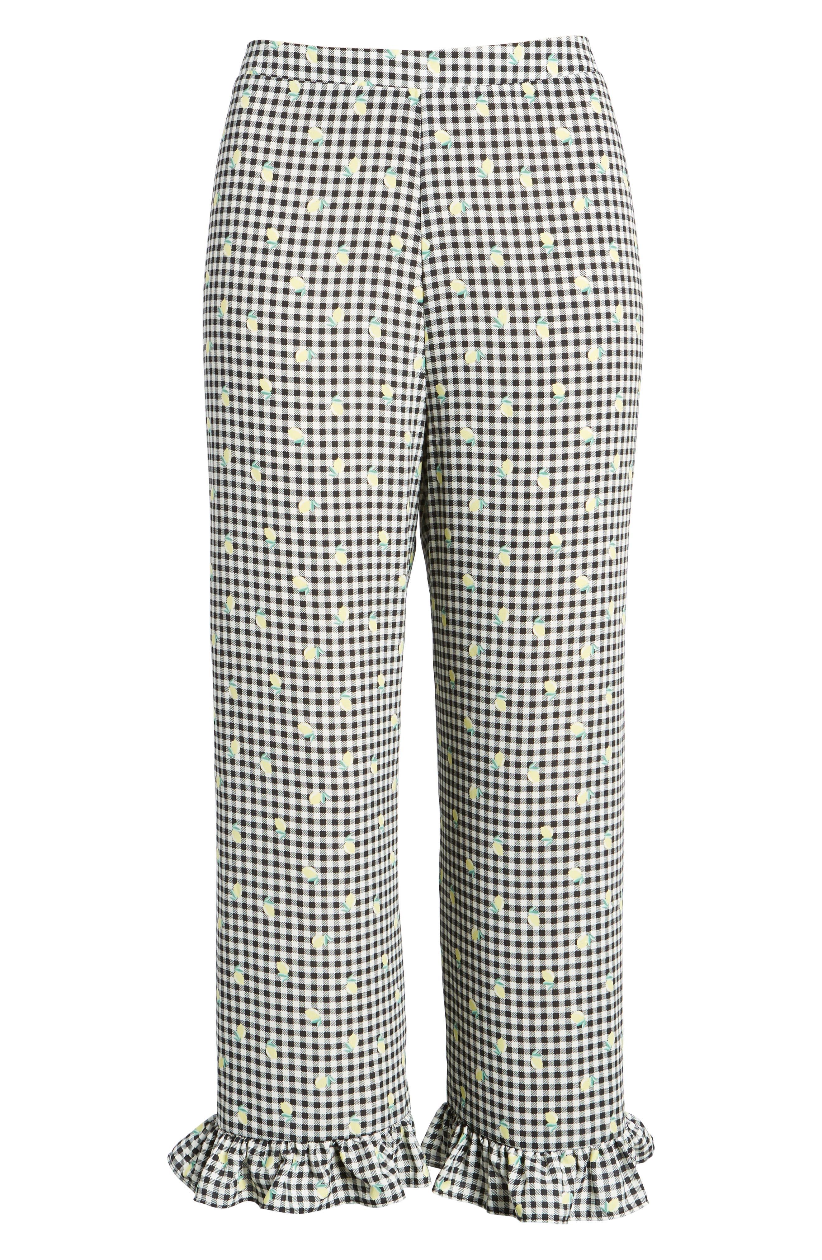 Gingham Ruffle Hem Crop Pants,                             Alternate thumbnail 7, color,                             001