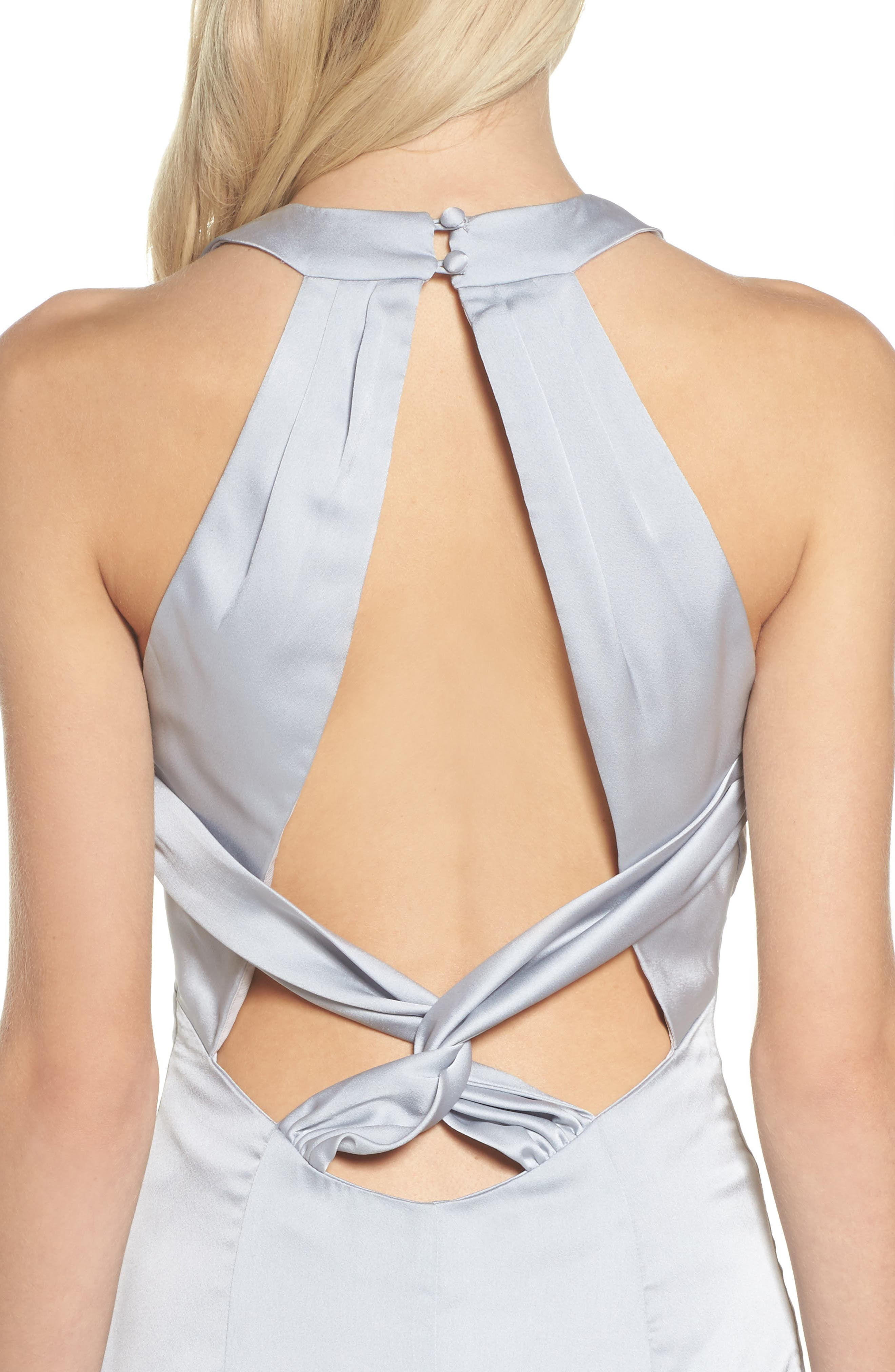 Amara Cross Back Satin Gown,                             Alternate thumbnail 4, color,                             044