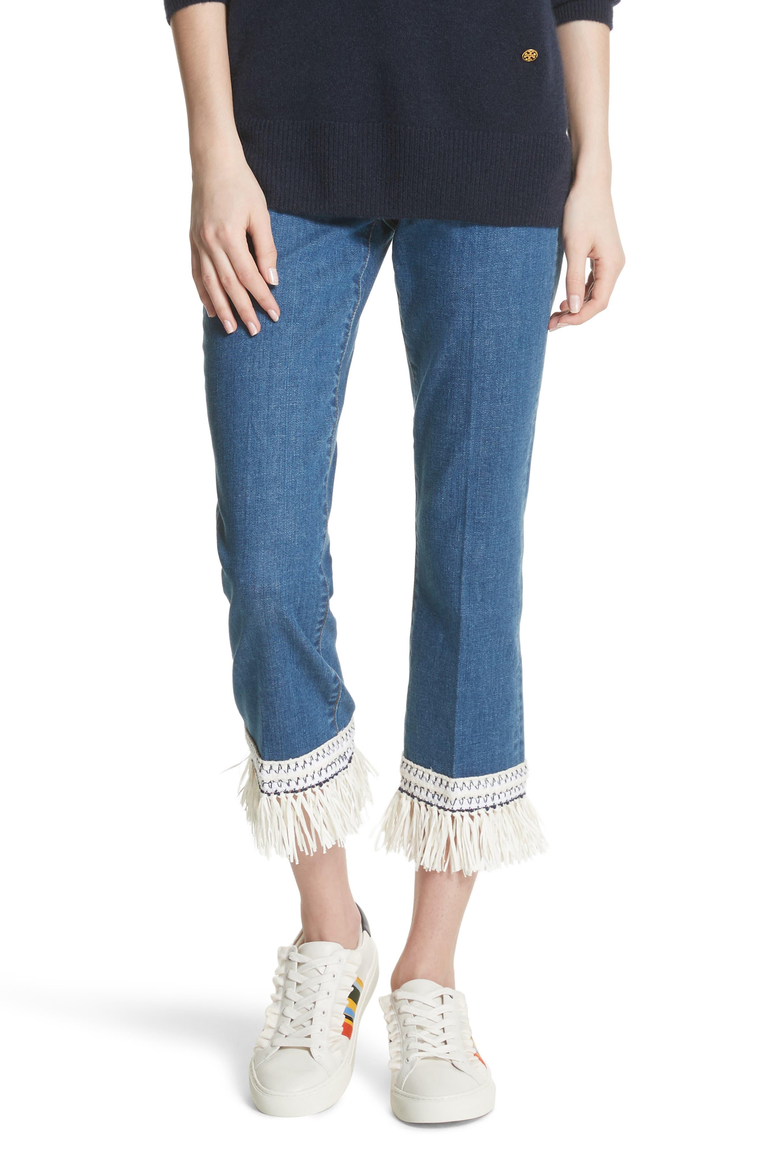 Connor Fringe Trim Crop Jeans,                             Main thumbnail 1, color,
