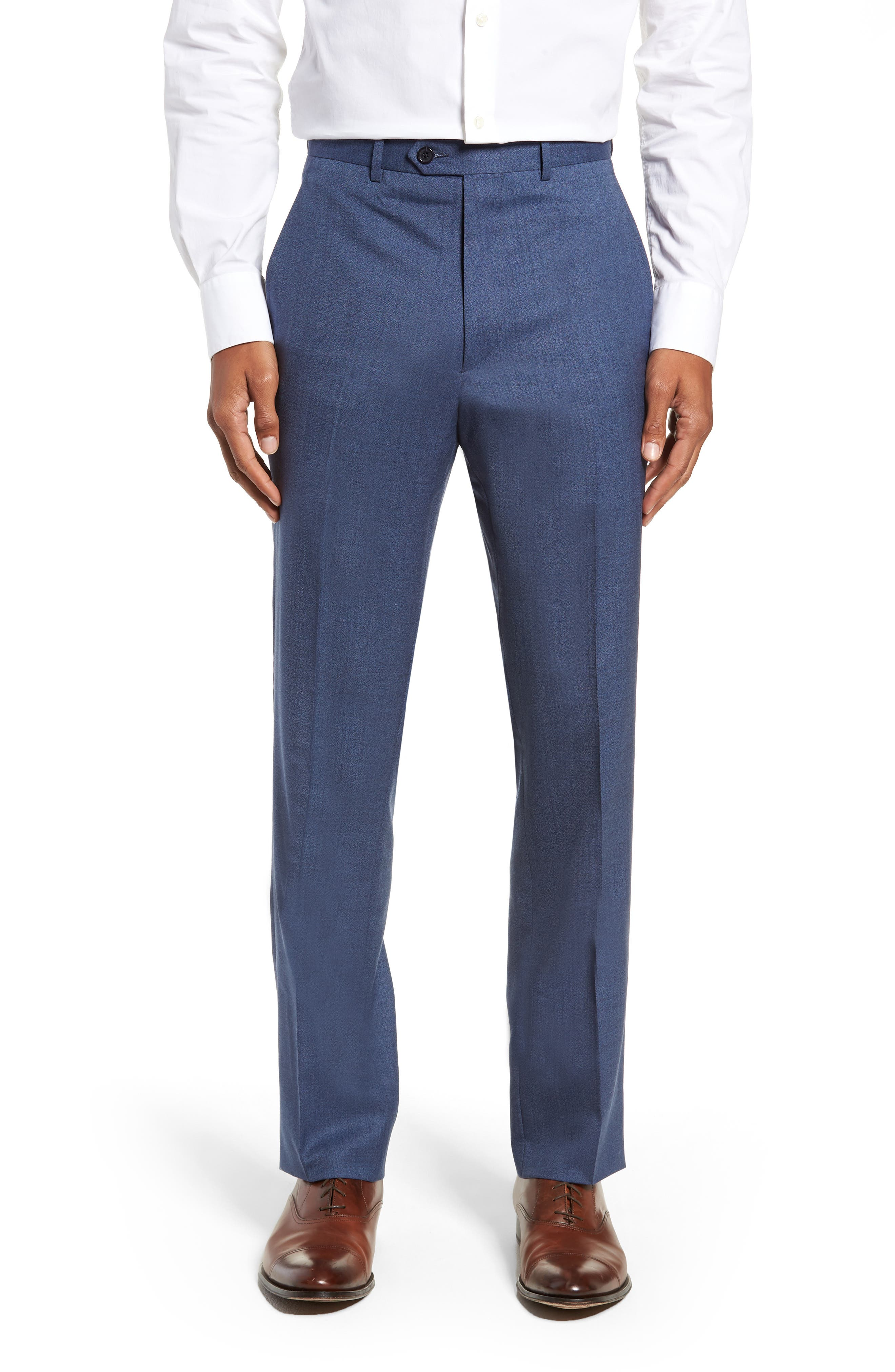 SANTORELLI Flat Front Solid Wool Trousers in Med Blue