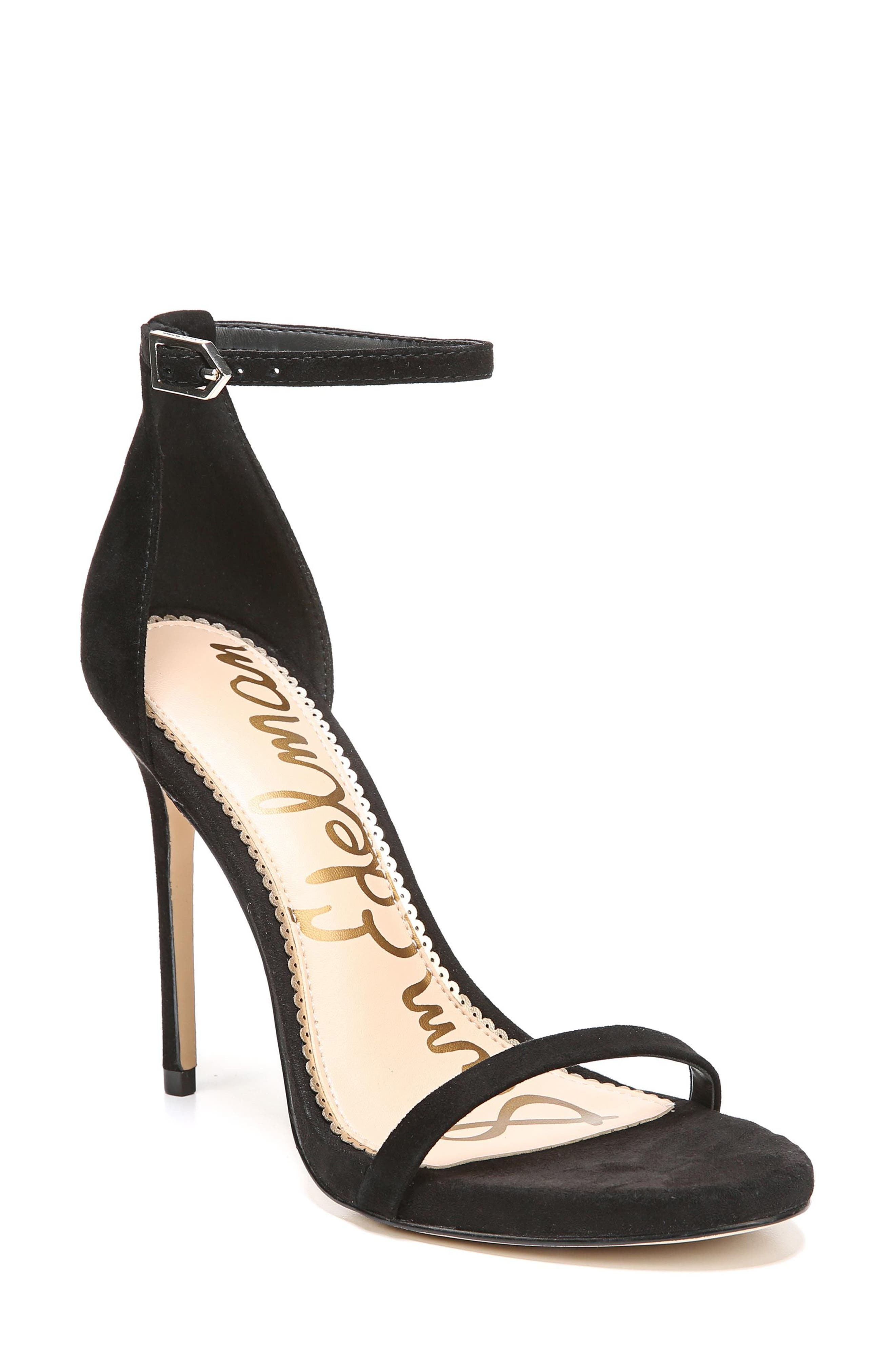 Ariella Ankle Strap Sandal,                             Main thumbnail 1, color,                             BLACK SUEDE