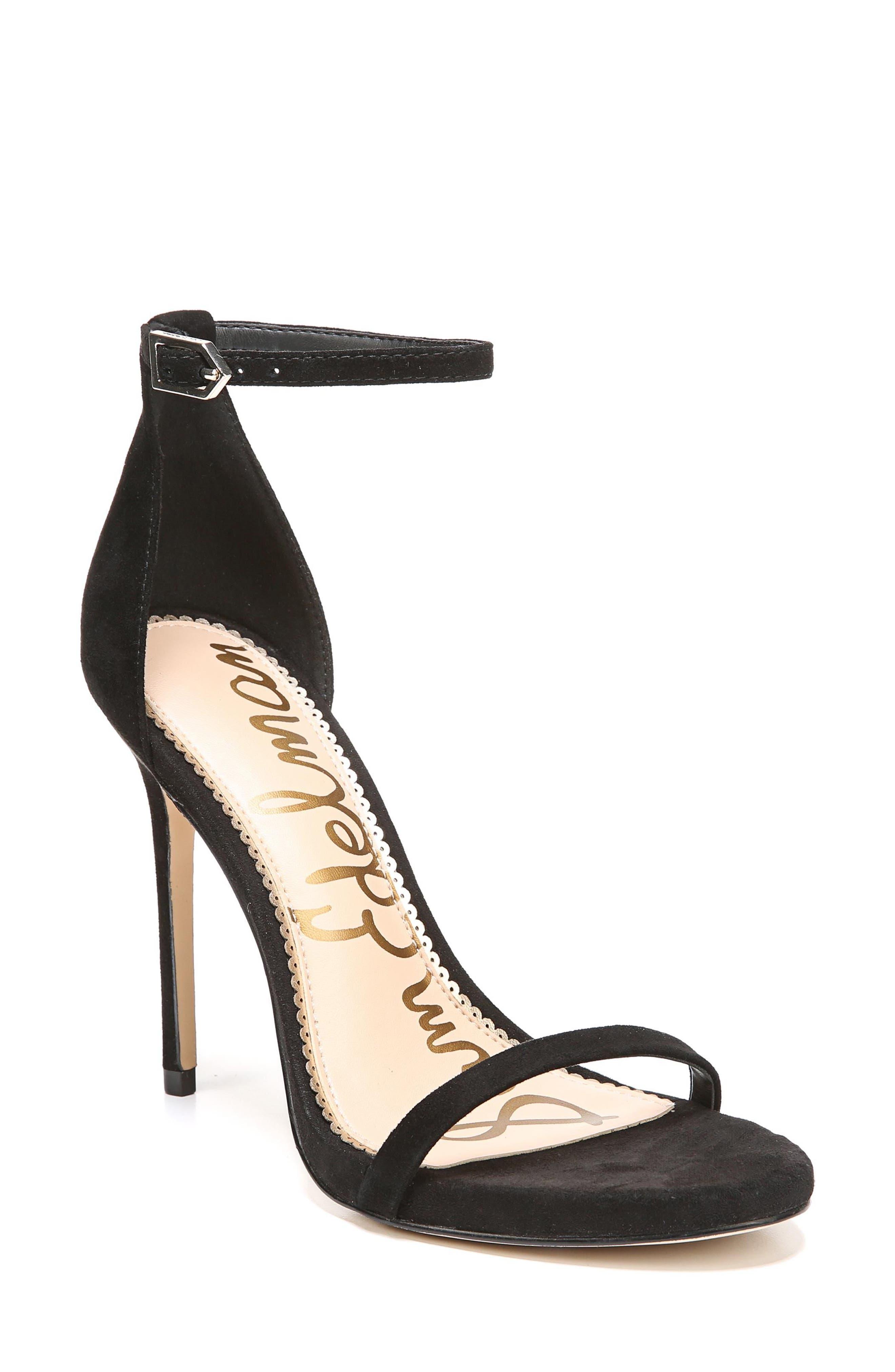 Ariella Ankle Strap Sandal,                         Main,                         color, BLACK SUEDE