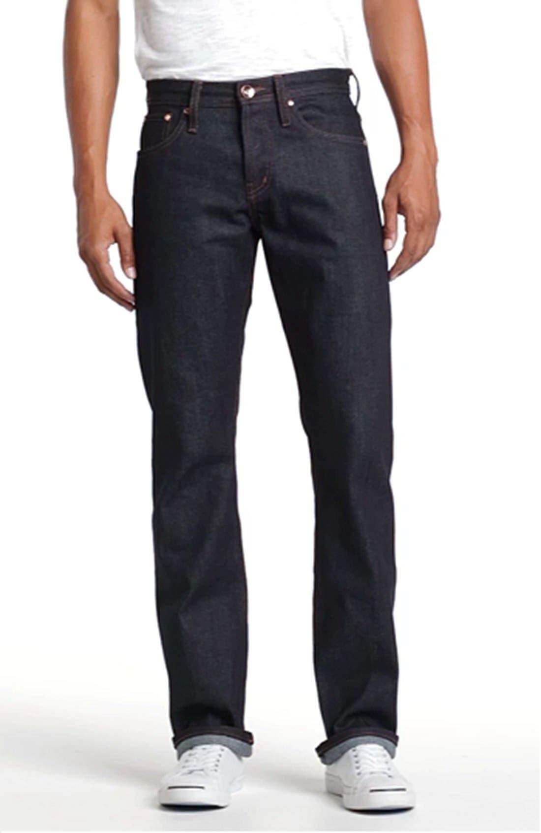 UB301 Straight Leg Raw Selvedge Jeans,                             Alternate thumbnail 8, color,                             INDIGO