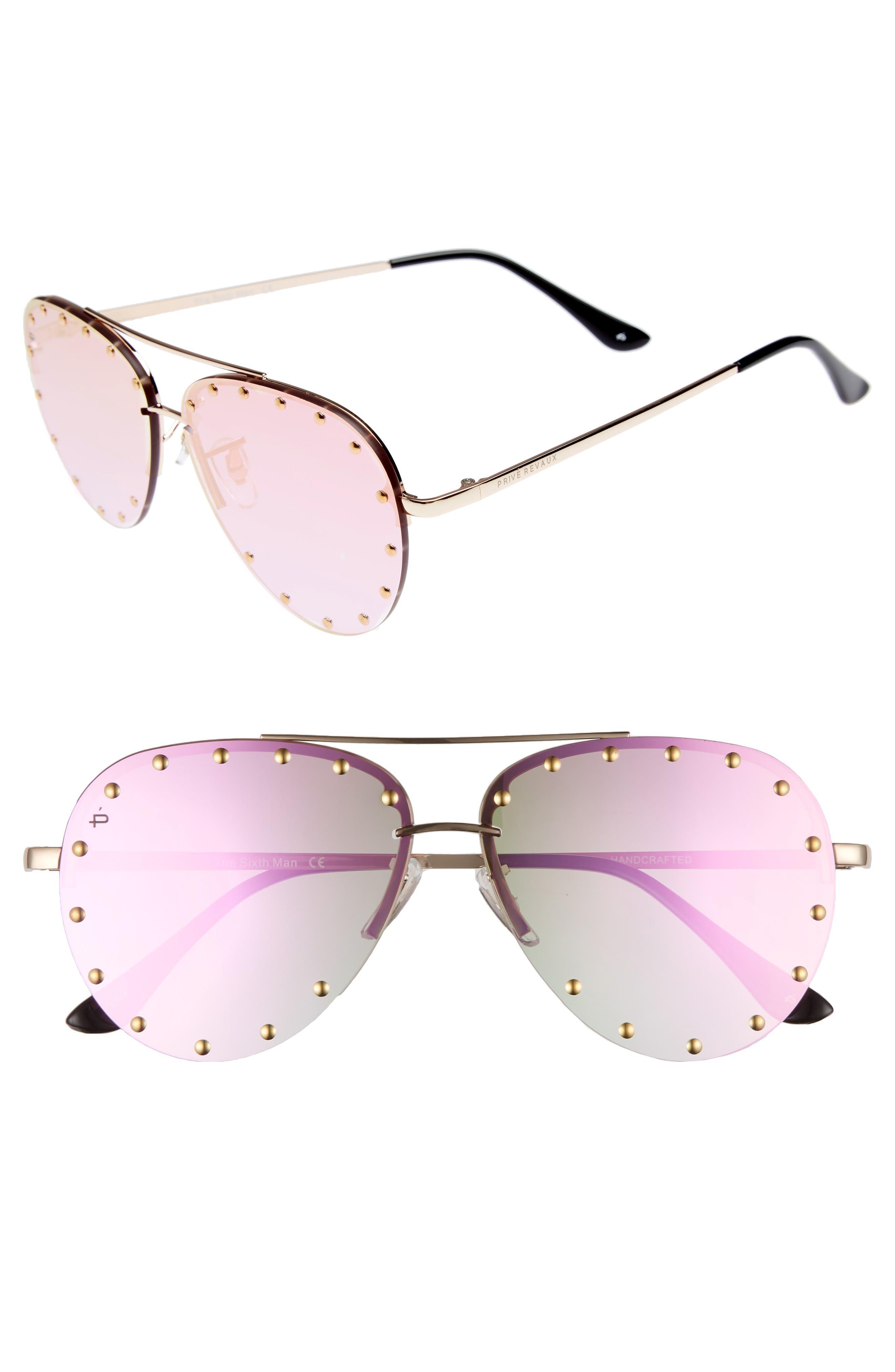 Privé Revaux The Sixth Man 60mm Studded Aviator Sunglasses,                             Main thumbnail 3, color,