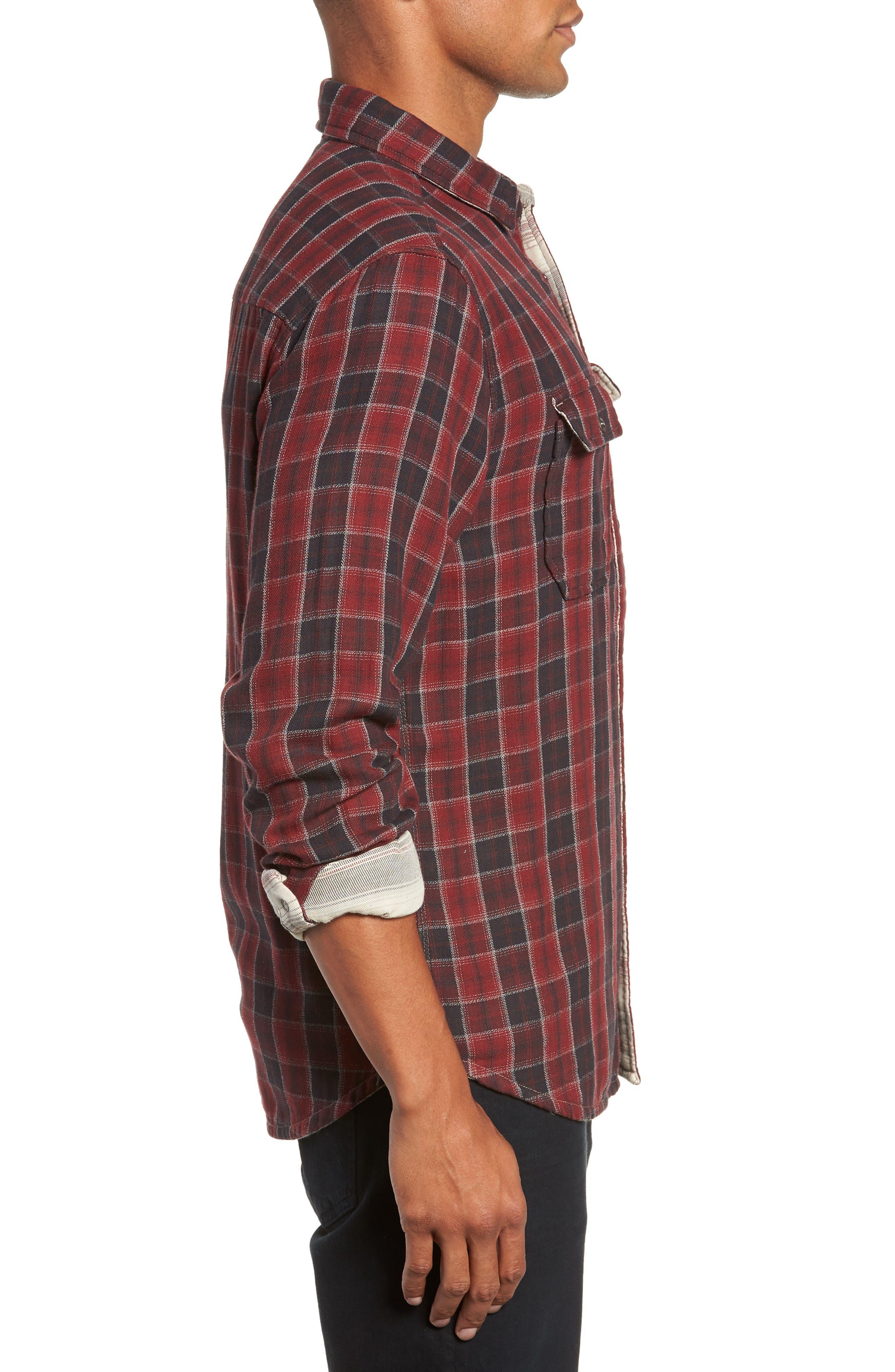 Boulder Regular Fit Reversible Plaid Shirt,                             Alternate thumbnail 5, color,                             OXBLOOD