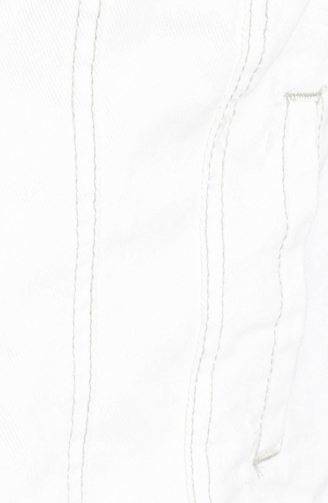 Knit Sleeve Distressed Denim Jacket,                             Alternate thumbnail 2, color,                             110