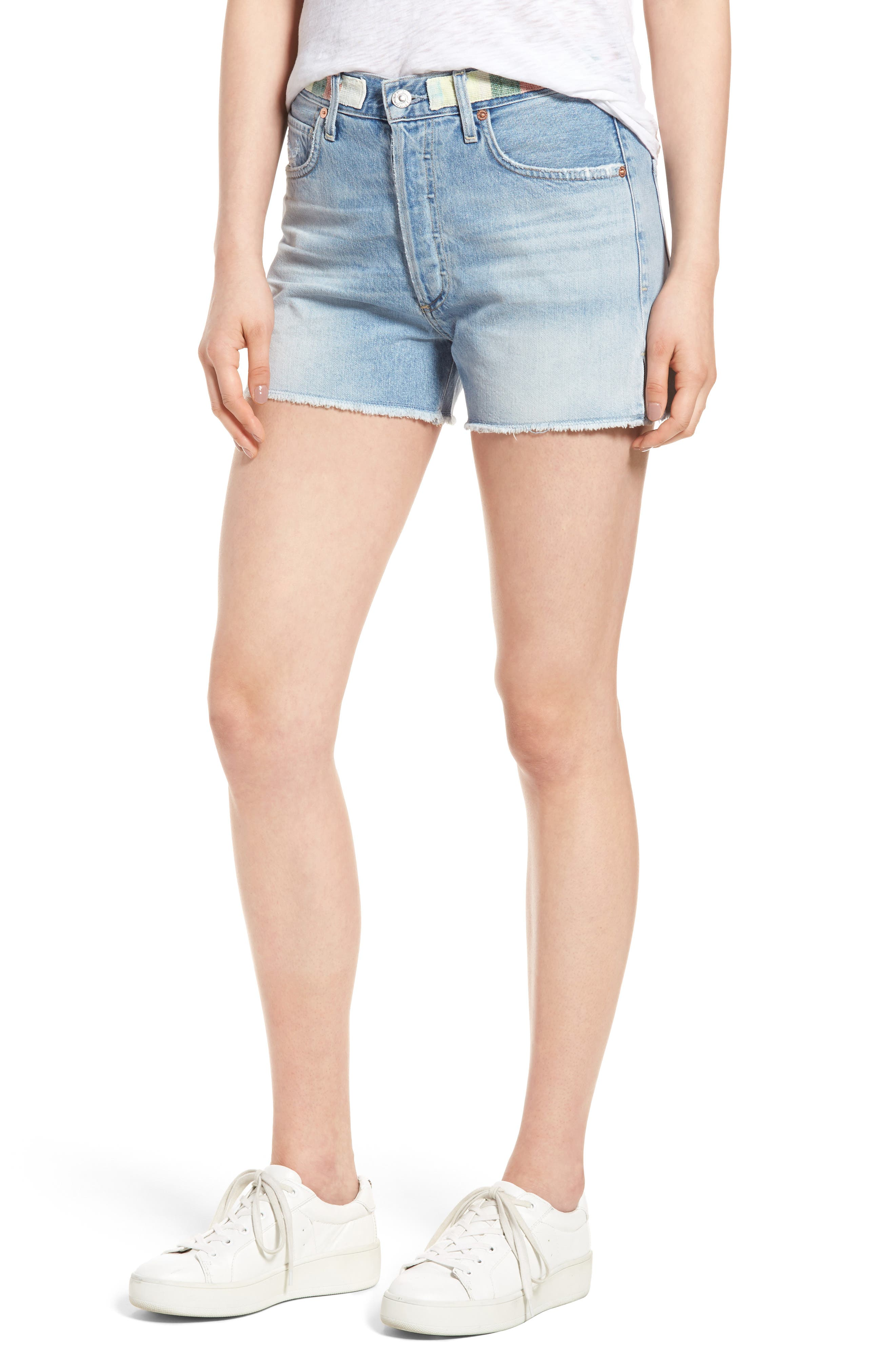 Alyx High Waist Cutoff Denim Shorts,                         Main,                         color, 400