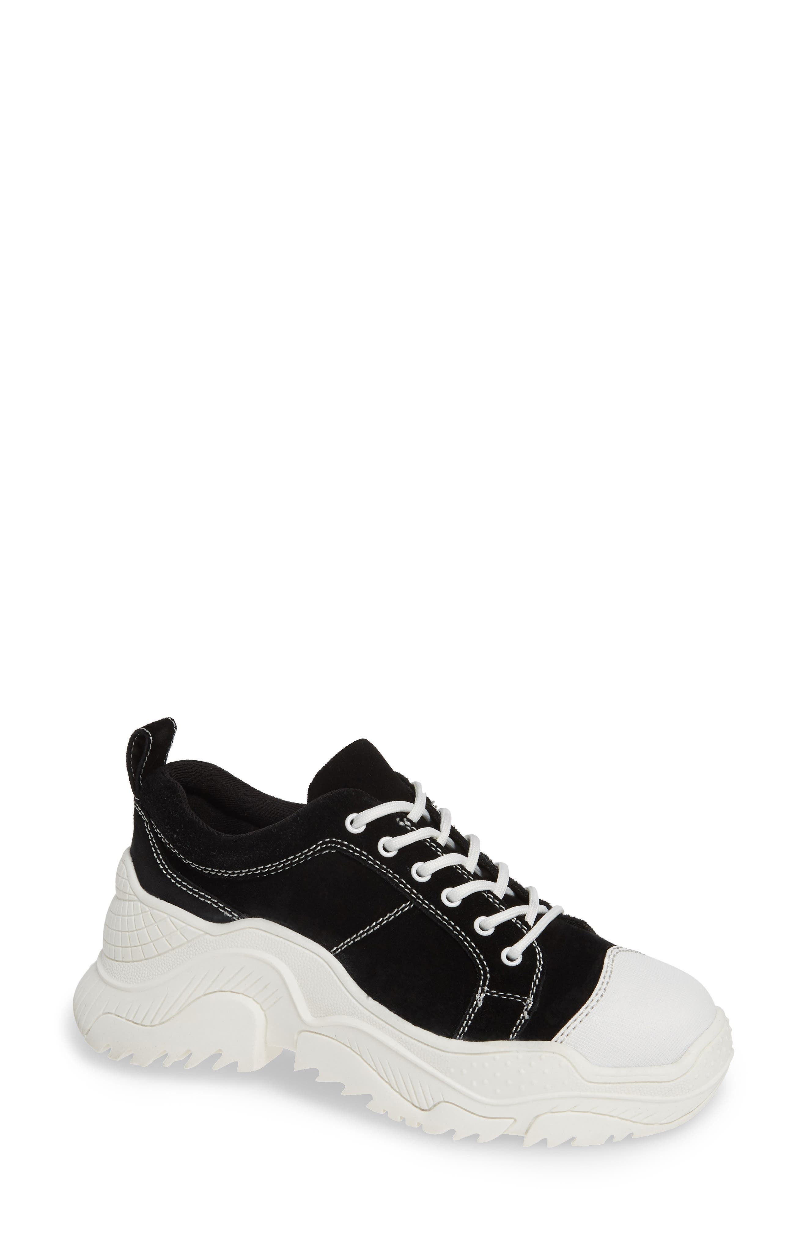 JEFFREY CAMPBELL,                             Remnant Sneaker,                             Main thumbnail 1, color,                             BLACK SUEDE WHITE
