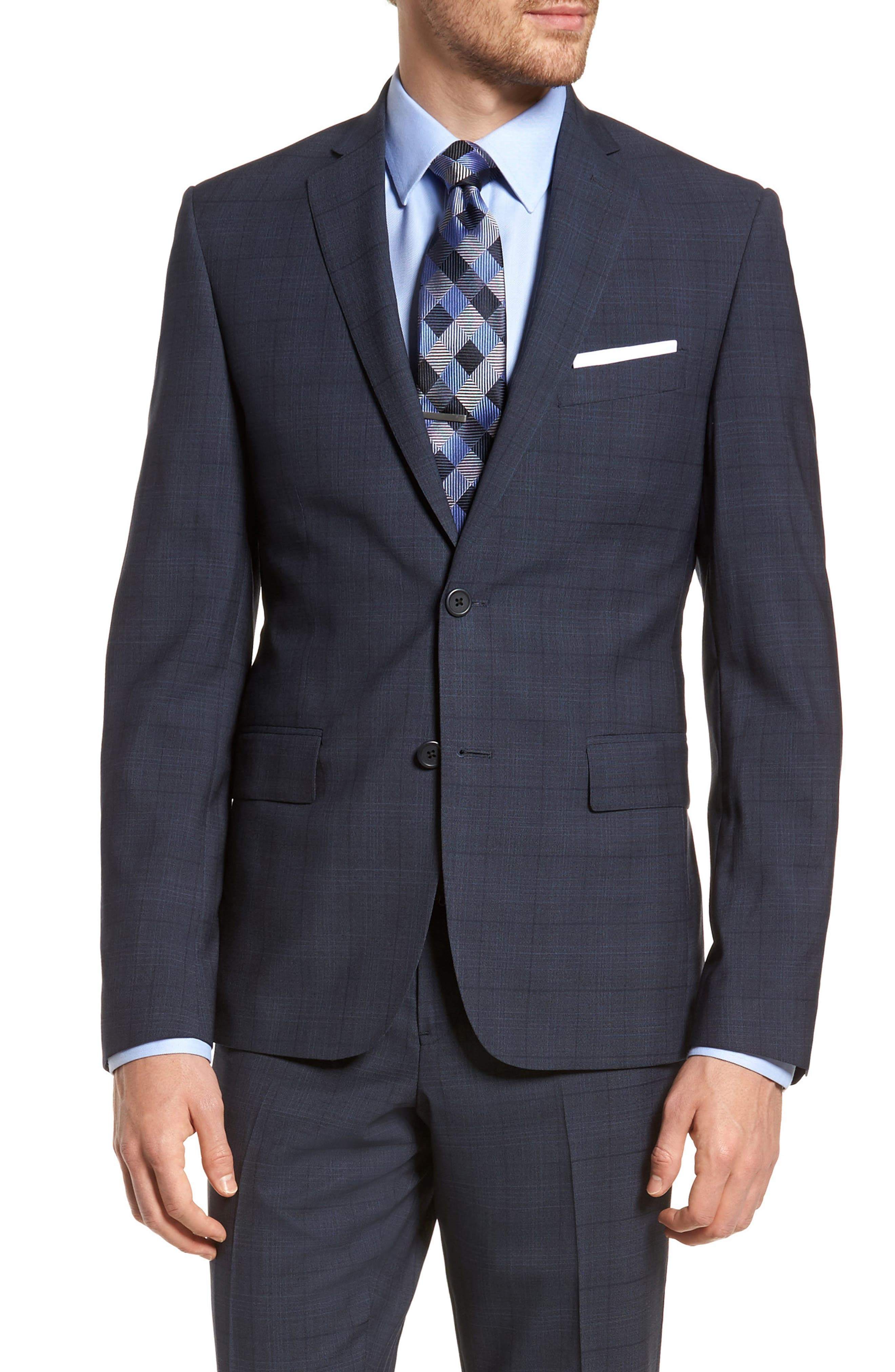 Extra Trim Fit Plaid Wool Suit,                             Alternate thumbnail 5, color,