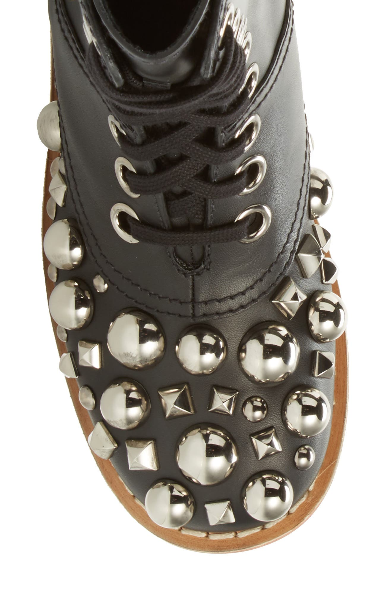 Genuine Shearling Trim Studded Lace-Up Boot,                             Alternate thumbnail 6, color,                             001