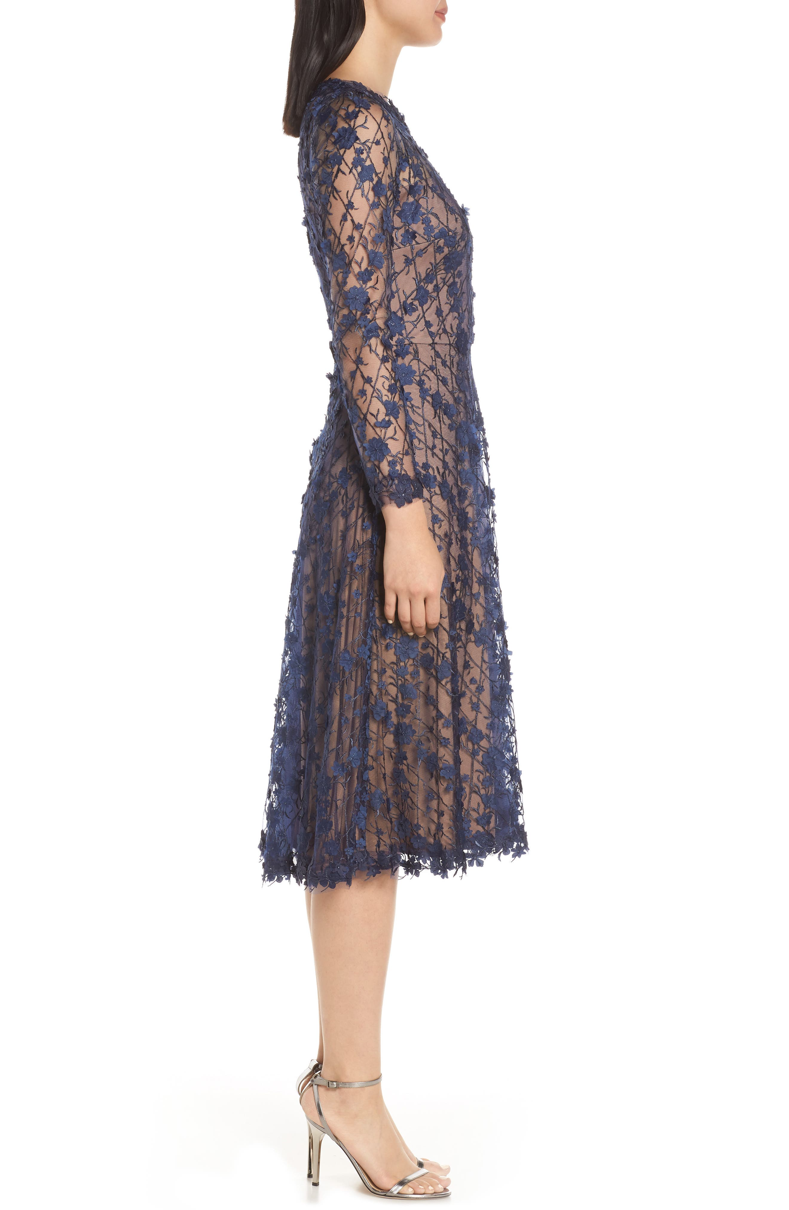 3D Flowers Lace Dress,                             Alternate thumbnail 3, color,                             MIDNIGHT/ NUDE