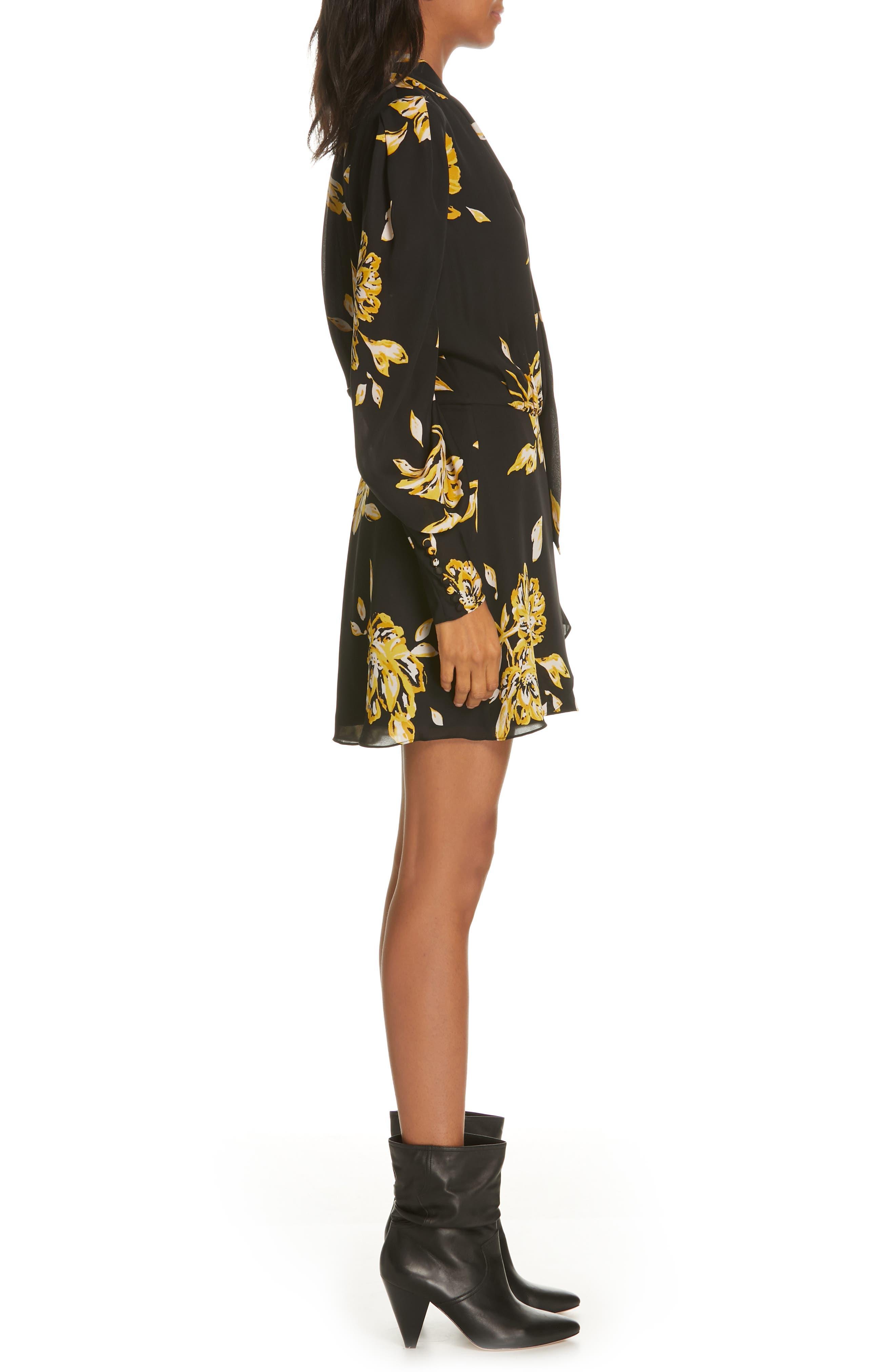 Gyan Floral Silk Dress,                             Alternate thumbnail 3, color,                             CAVIAR