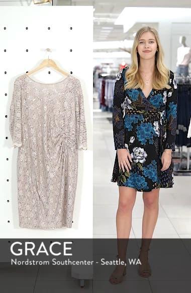 Embellished Illusion Lace Shift Dress, sales video thumbnail