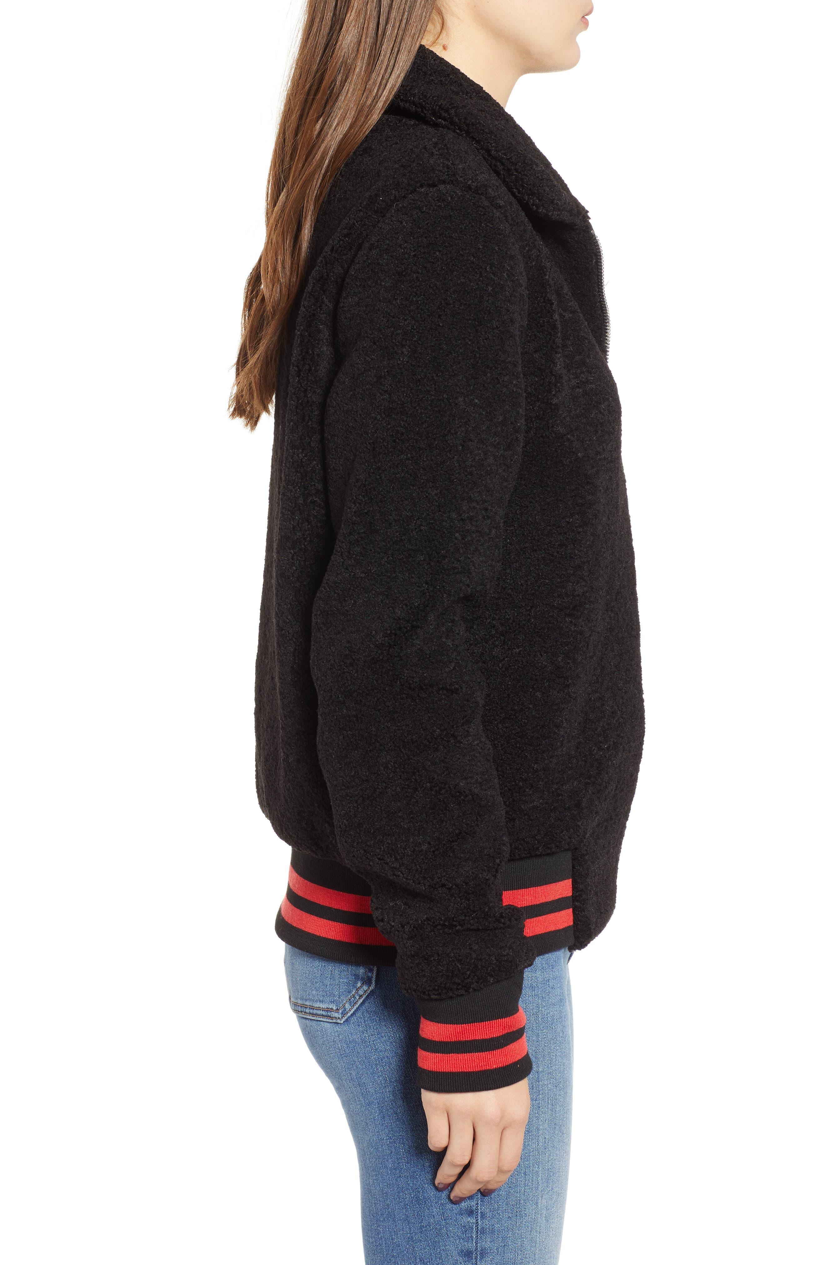 Gray Faux Fur Track Jacket,                             Alternate thumbnail 3, color,                             BLACK CAT