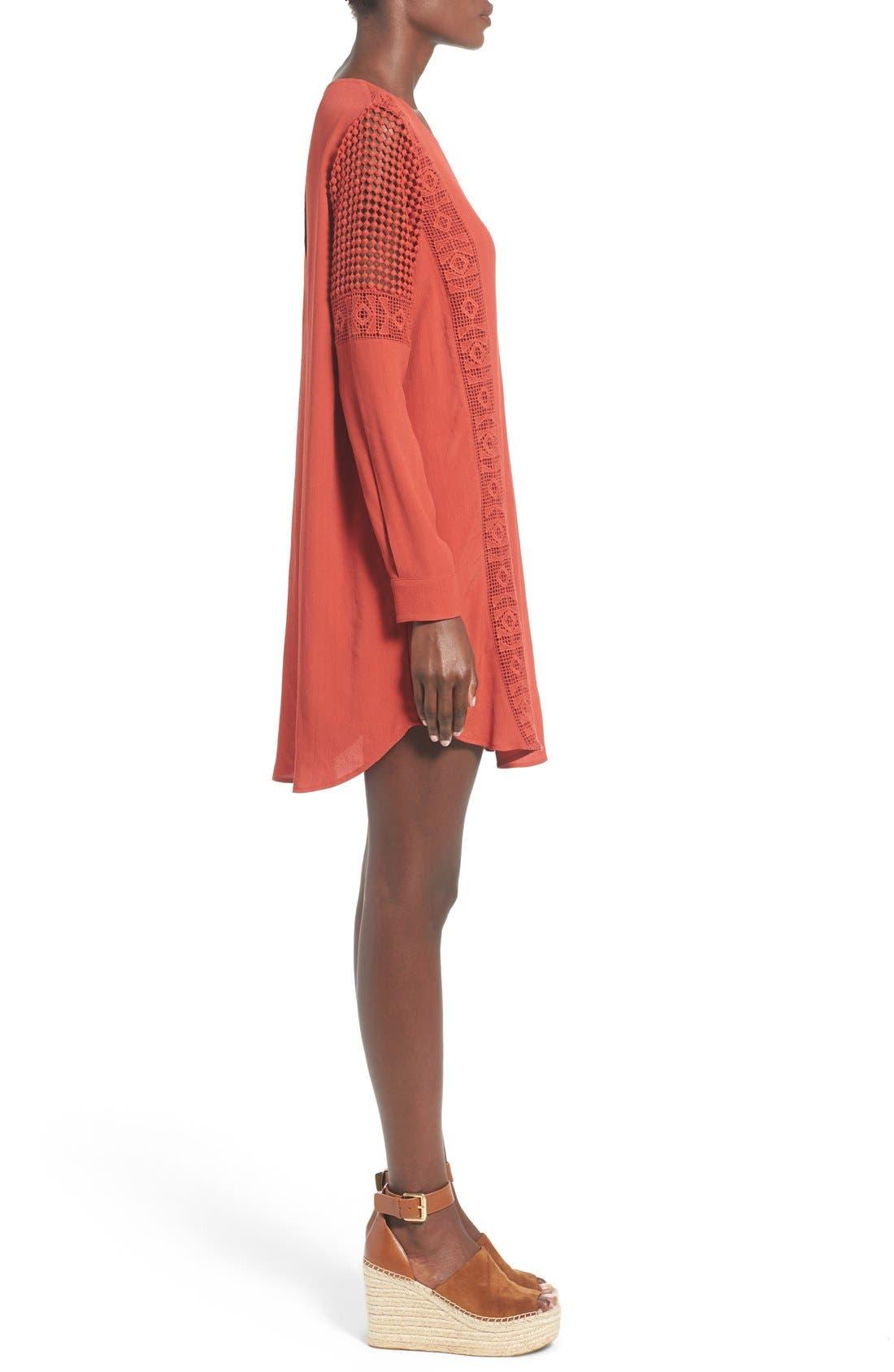 ASTR Crochet Inset Cotton Shift Dress,                             Alternate thumbnail 7, color,