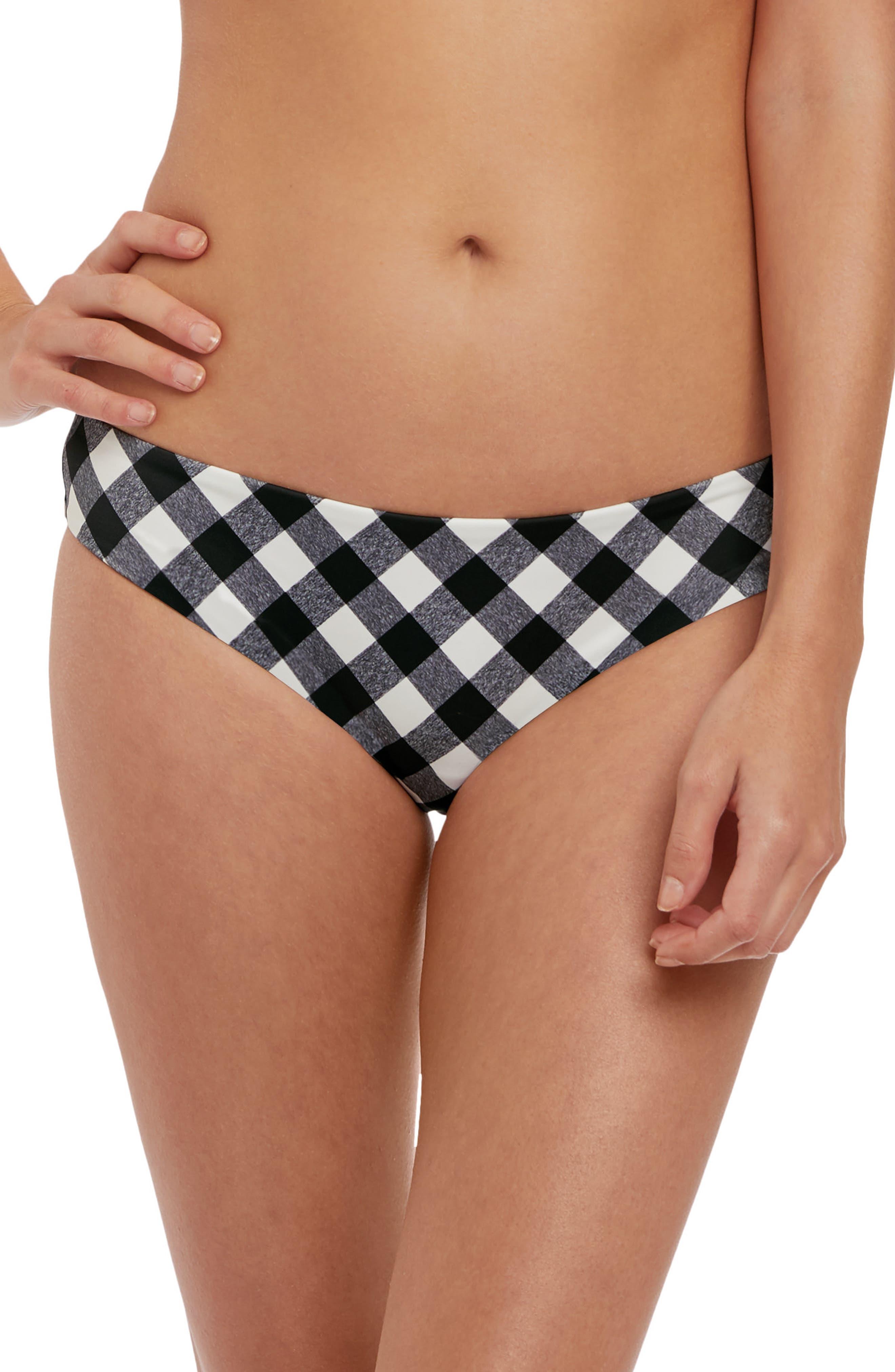 FREYA Totally Check Bikini Bottoms in Monochrome