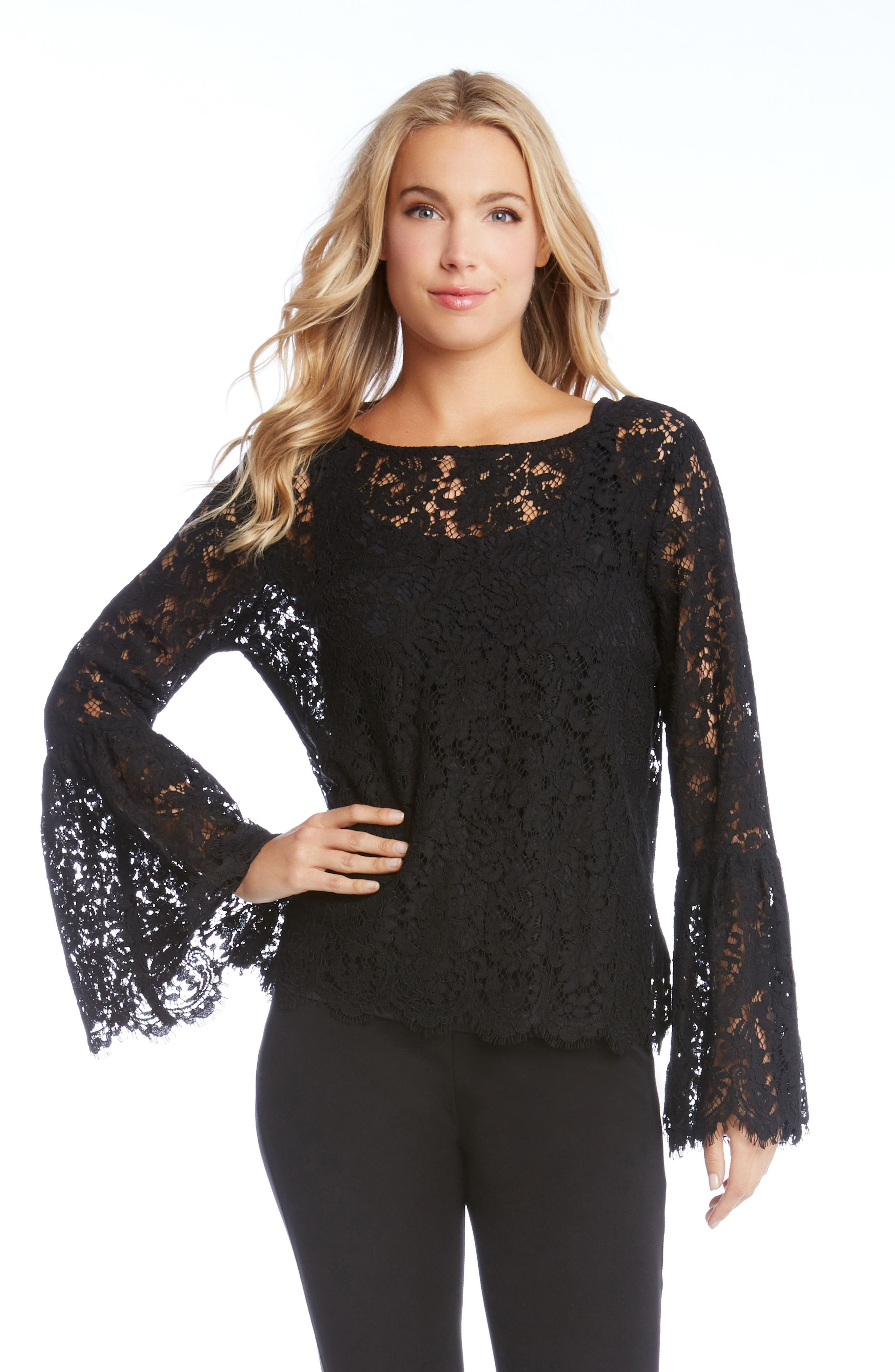 Lace Bell Sleeve Top,                             Alternate thumbnail 3, color,                             001